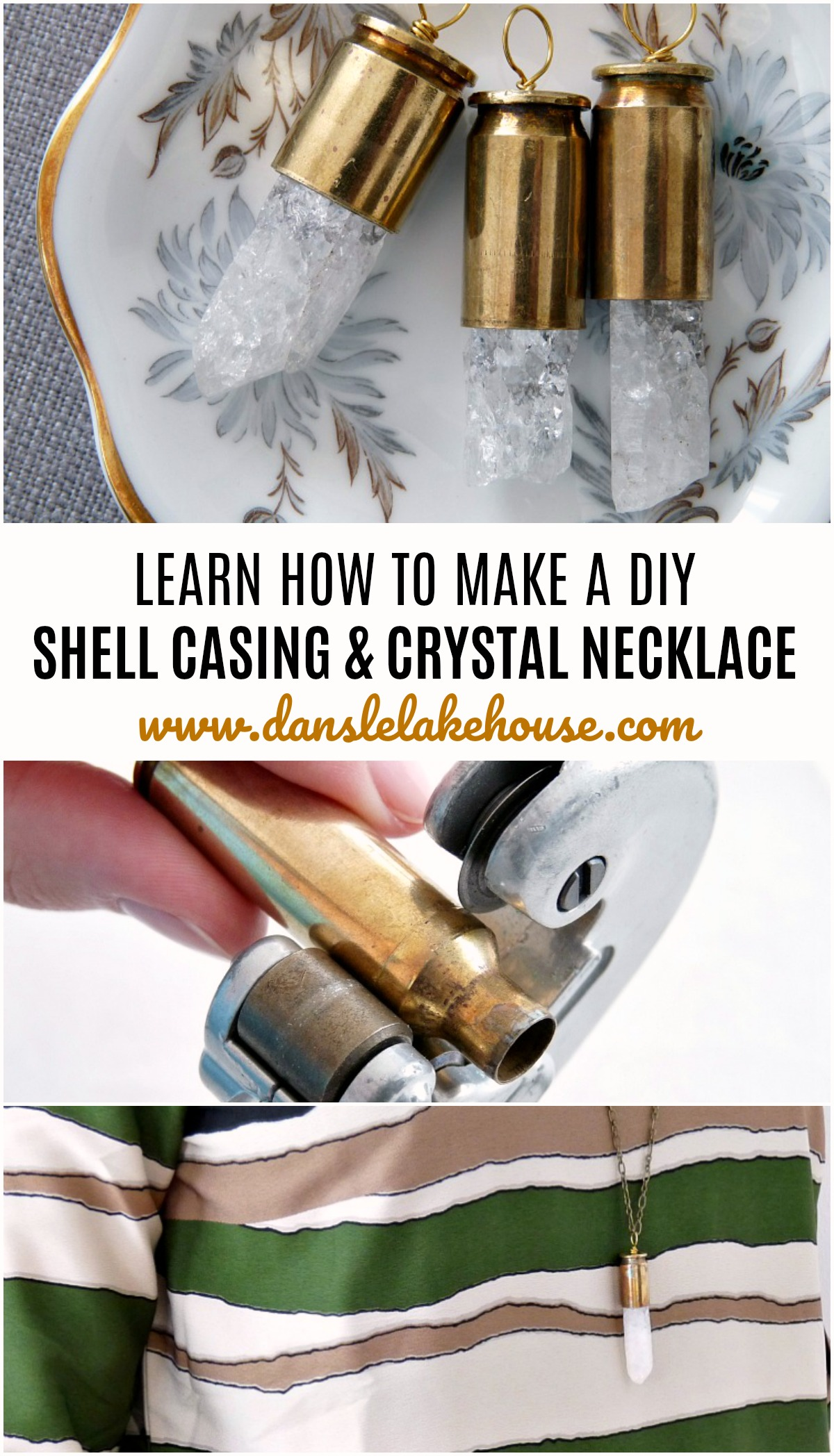 DIY shell casing and crystal necklace