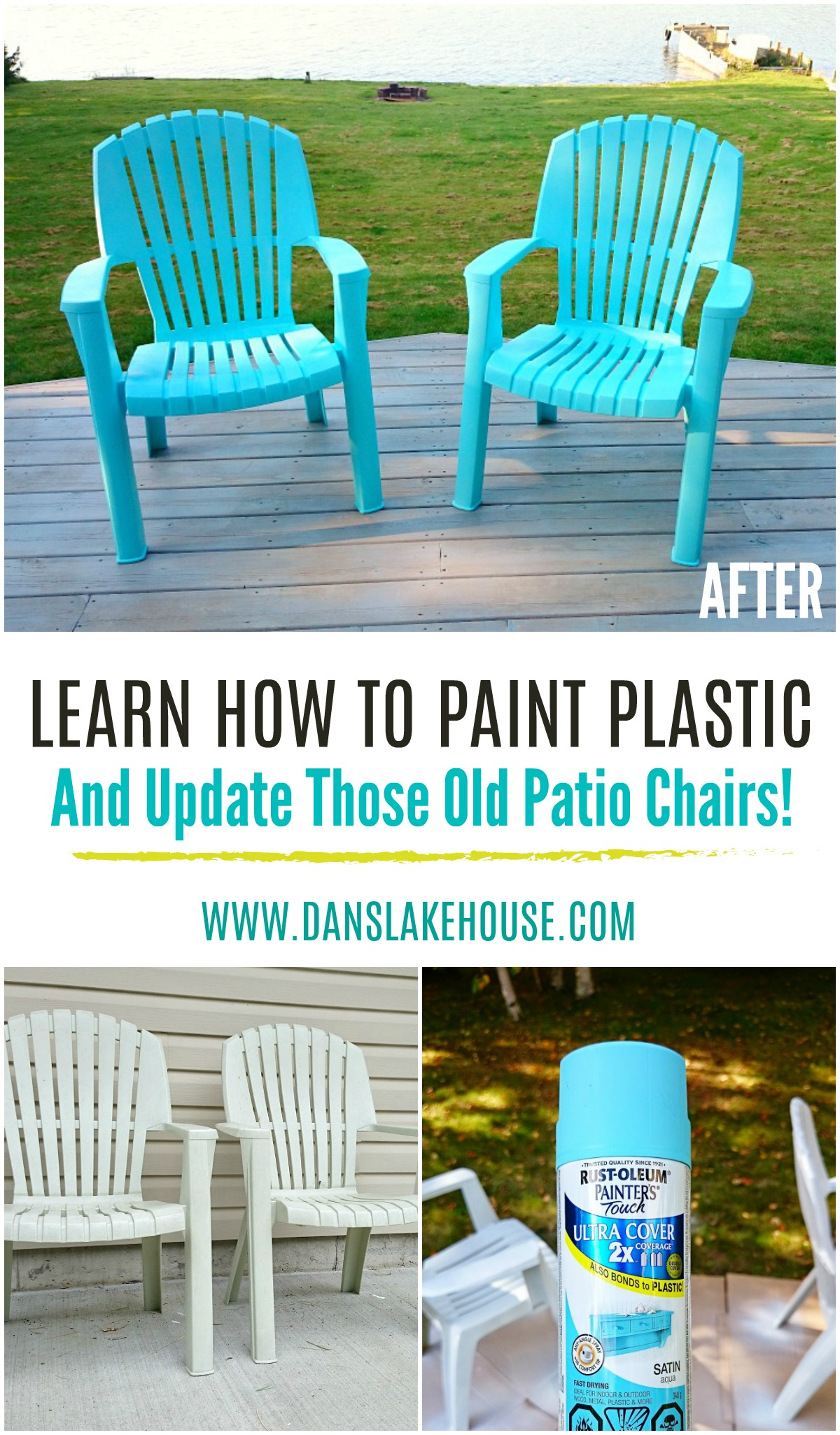 Learn How to Paint Plastic and Update Those Old Patio Chairs! How to Spray Paint Plastic Lawn Furniture is a Great Budget-Friendly Patio Idea. Cheap and Easy Outdoor Projects and a Great Spray Paint Project for Summer. #savingmoney #spraypaint #outdoorprojects #patiofurniture #furnituremakeover