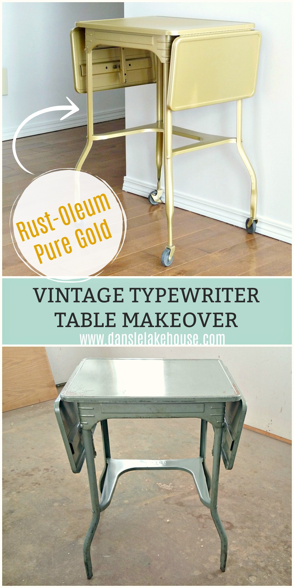 Vintage Typewriter Table Makeover | Rust-Oleum Universal Metallic Pure Gold Spray Paint Review #upcycle #spraypainting #spraypaintmakeover #vintagefurniture #vintage #furnituremakeover