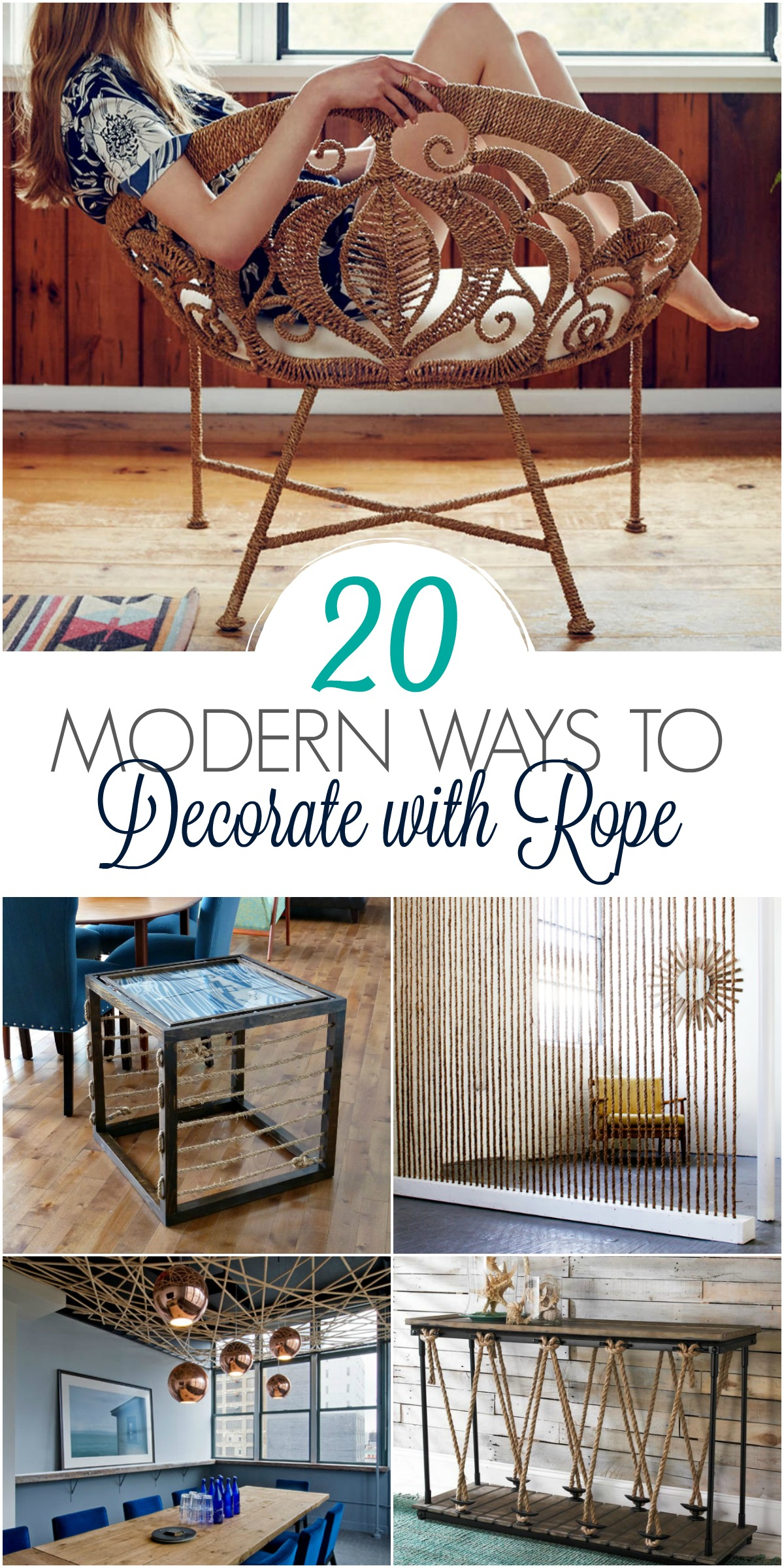 Borrow these ideas! Decor, DIY, and Design Inspiration - 20 MODERN WAYS TO DECORATE WITH ROPE. Not for coastal decor anymore! Mix any style with rope, from mid-century modern to boho! #rope #moderncoastal #boho #decorinspiration #diyhomedecor