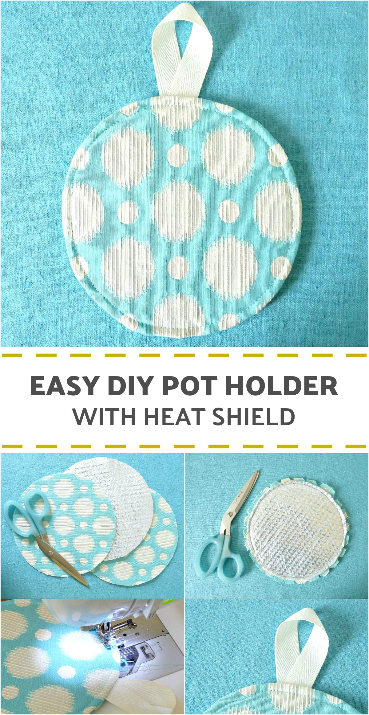 Learn How to Make This Easy DIY Pot Holder with Heat Shield. Yes, You Can Sew Your Own Fabric Trivet! #sewing #potholder #fabriccrafts #diy