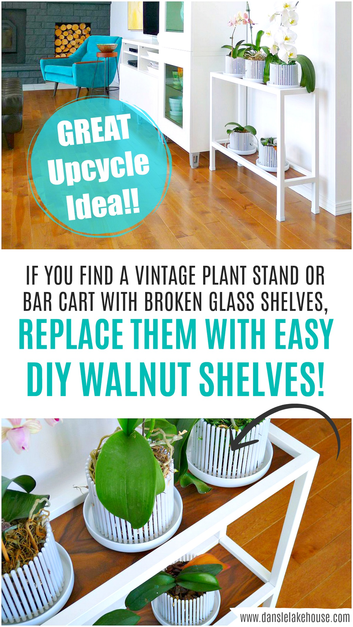Next time you see a sad shelf or bar cart, you know that you can update broken glass shelves with DIY walnut plywood shelves! Great furniture upcycle makeover. #furnituremakeover #upcycle #budgethomedecor