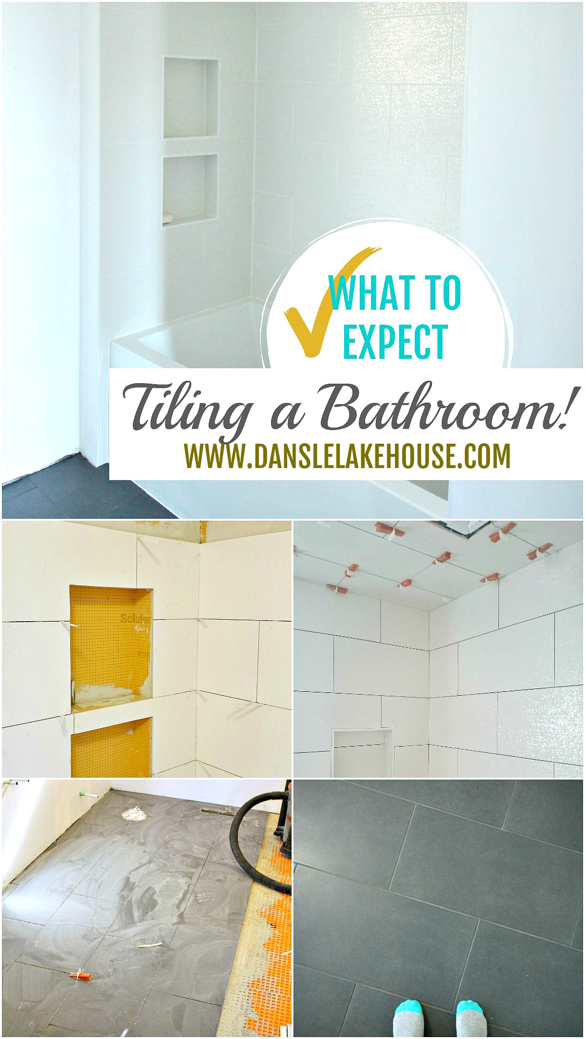 What to Expect Tiling a Bathoom - see the process, how long it takes, the problems we had and what we're so happy with! #tiling #bathroom #renovating
