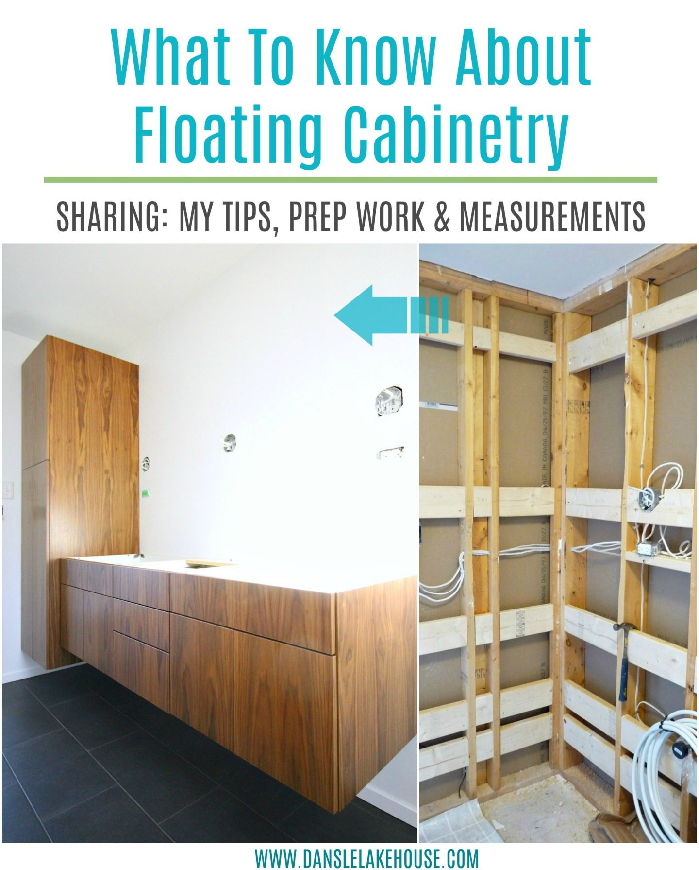 What to Know About Floating Wall Mounted Cabinetry: Tips, Tricks and Prep Required. Read about my floating cabinets in the bathroom. #renovating #floatingcabinets #cabinetry #howto