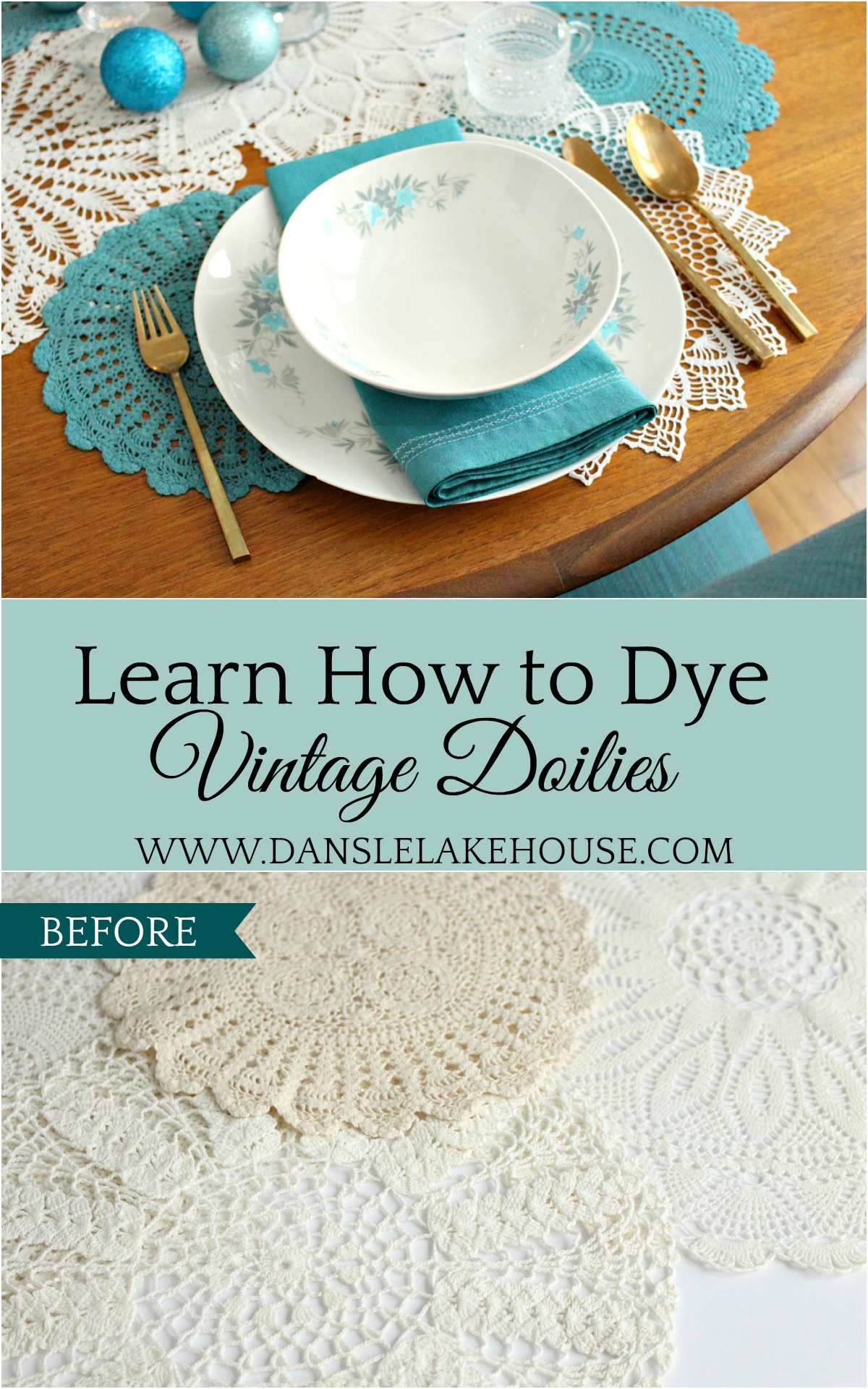Wintry Tablescape + DIY Doily Table Runner