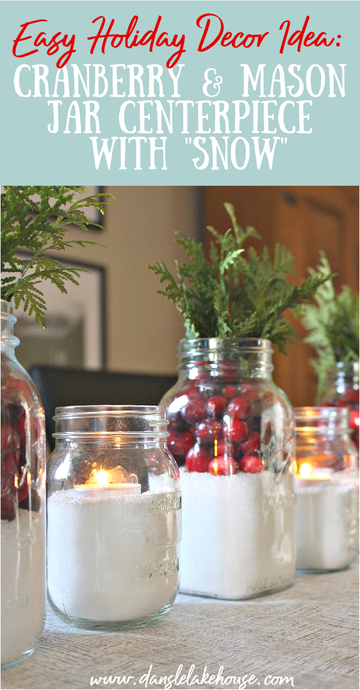 Cranberry and Mason Jar Centerpiece