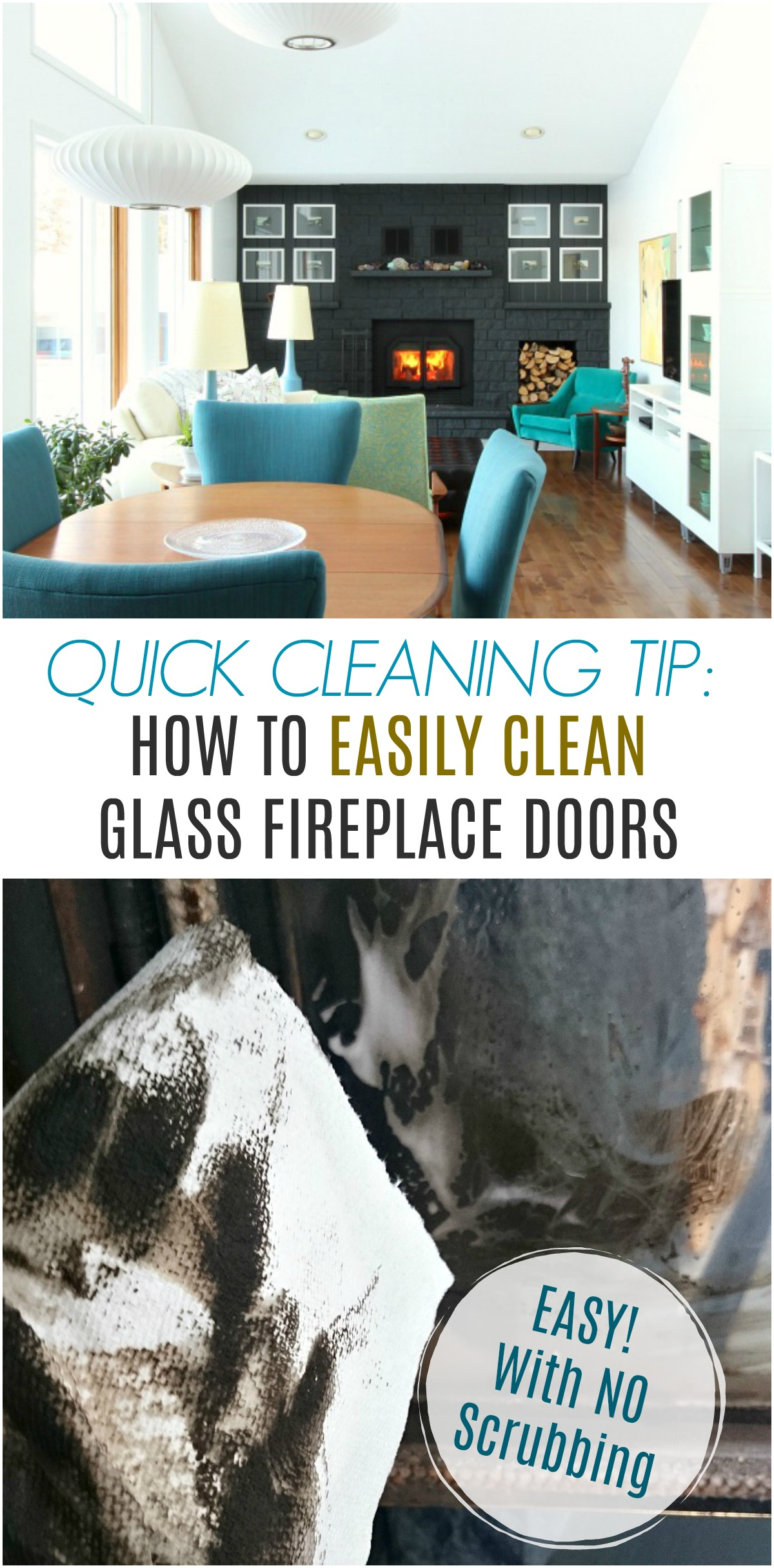 Learn how to clean glass fireplace doors - easily, with no scrubbing or effort. There's a product that makes this effortless and it's a versatile glass cleaner. #cleaningtips #cleanfireplace #fireplacecleaning