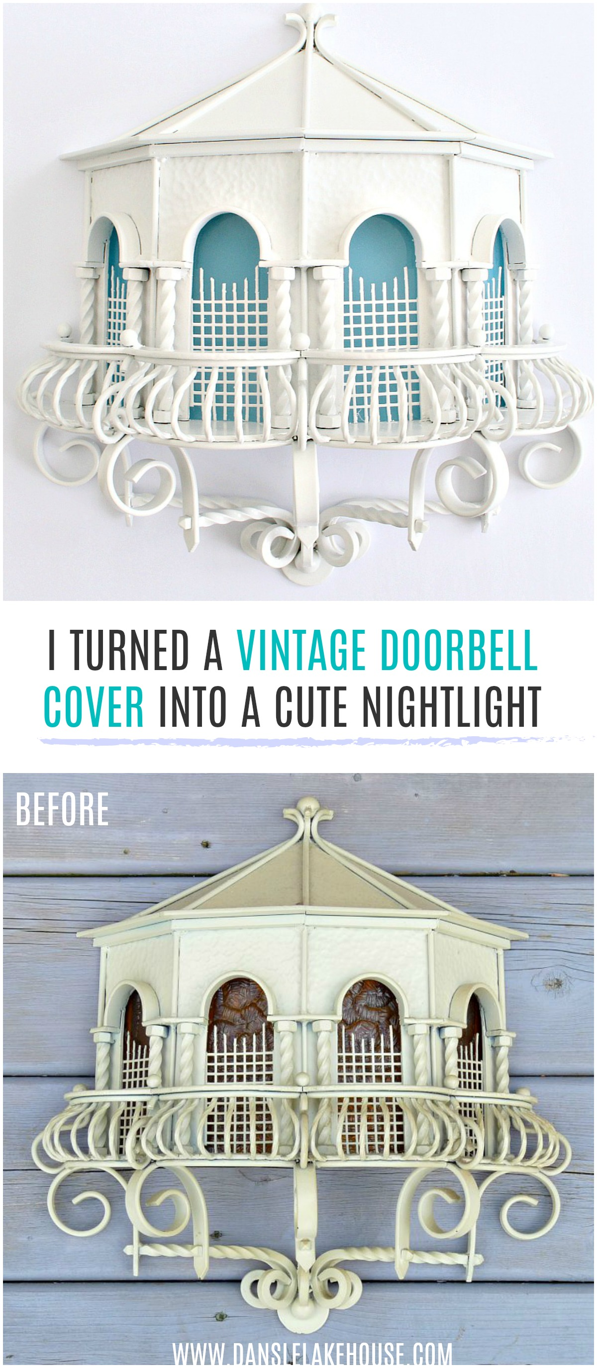 "I turned a vintage doorbell cover into a cute nightlight after I gave it a more modern ""makeover"". #upcycling #vintage #diy"