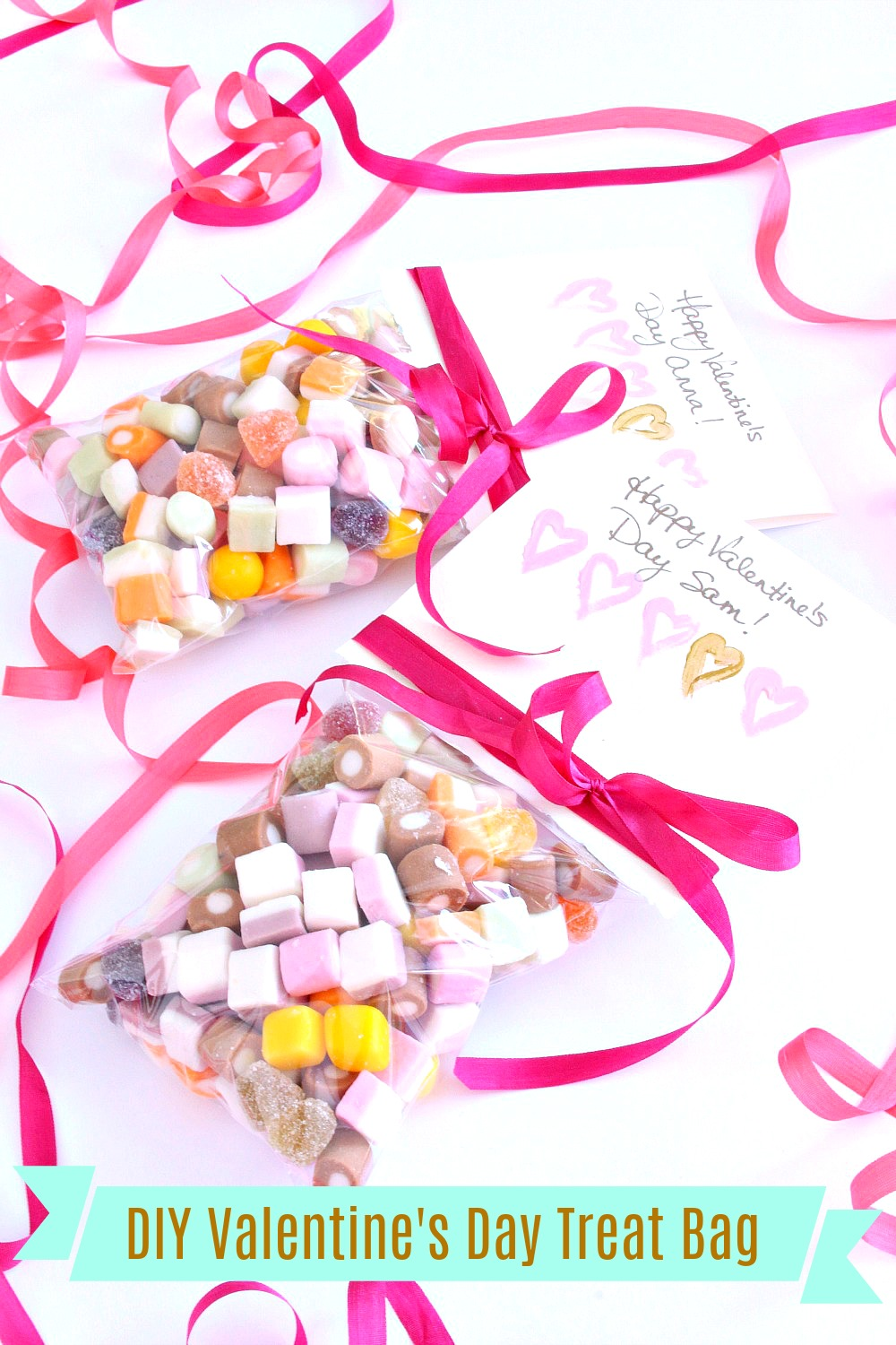 DIY Valentine's Treat Bag Filled with Tiny Dolly Mix Candy #dollymix #kidscrafts #valentinesday #valentinescrafts