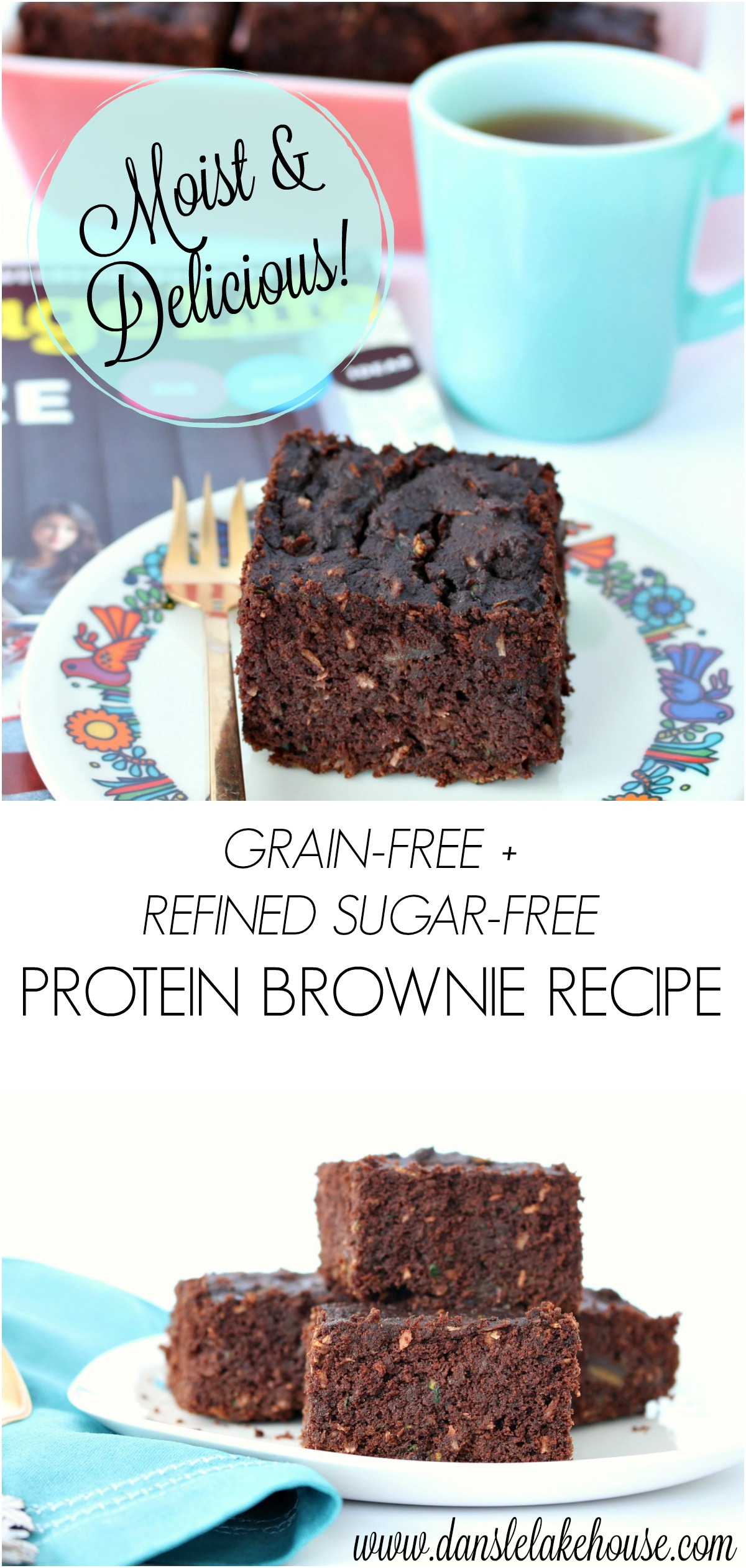 Moist and Delicious Grain-Free, Wheat-Free, Refined Sugar-Free Protein Brownie Recipe - a Healthier Zucchini Cake #sugarfreebaking #iquitsugar #proteinbrownie #healthydesserts