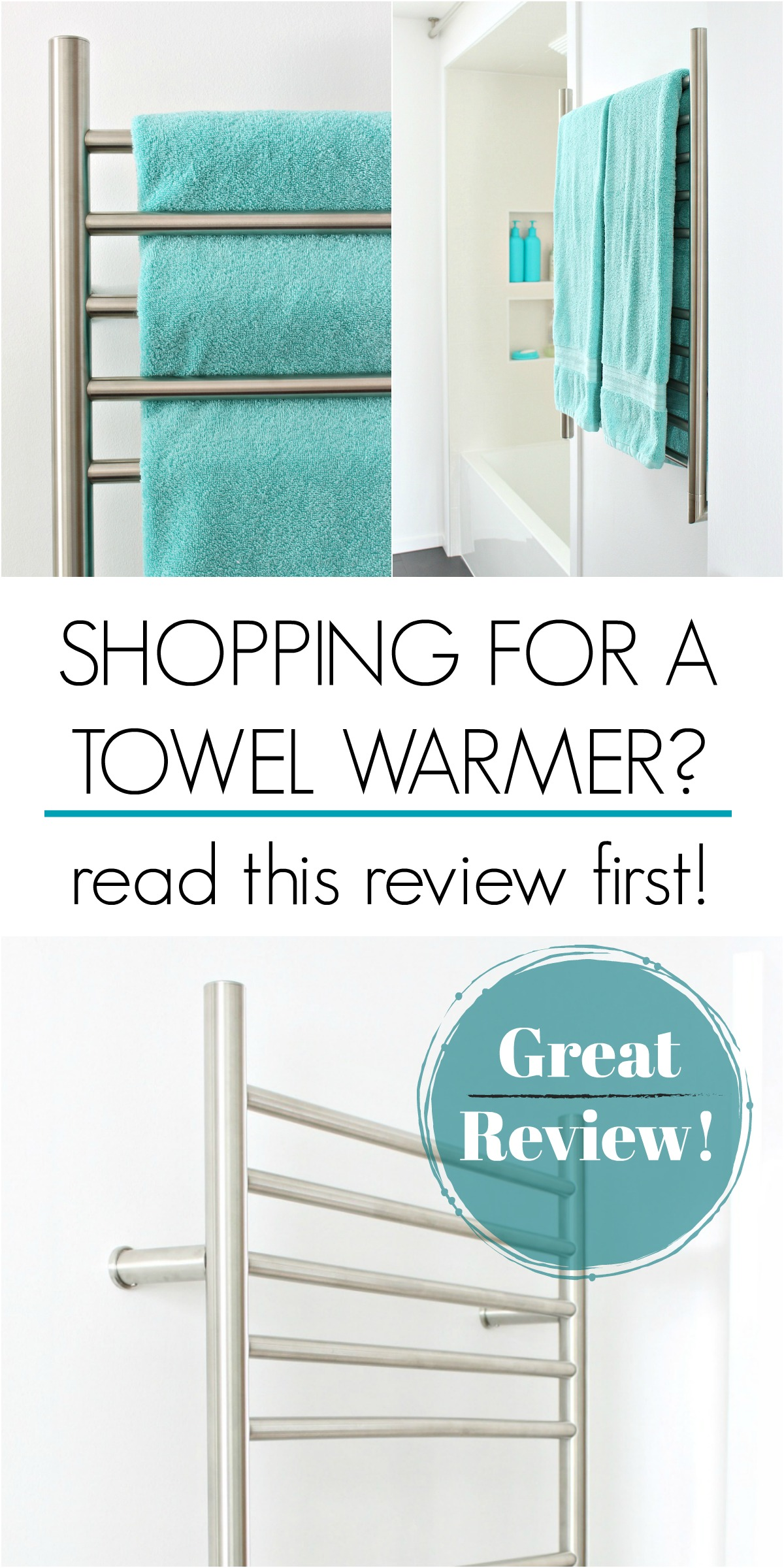 Shopping for Towel Warmer? Read This Review First! LOTS of Great Info and Things to Think About. GREAT Way to Add Luxury and Convenience to Any Bathroom. Read Our Experience with DIY Installation. #towelwarmer #bathroomideas #bathroommusthaves