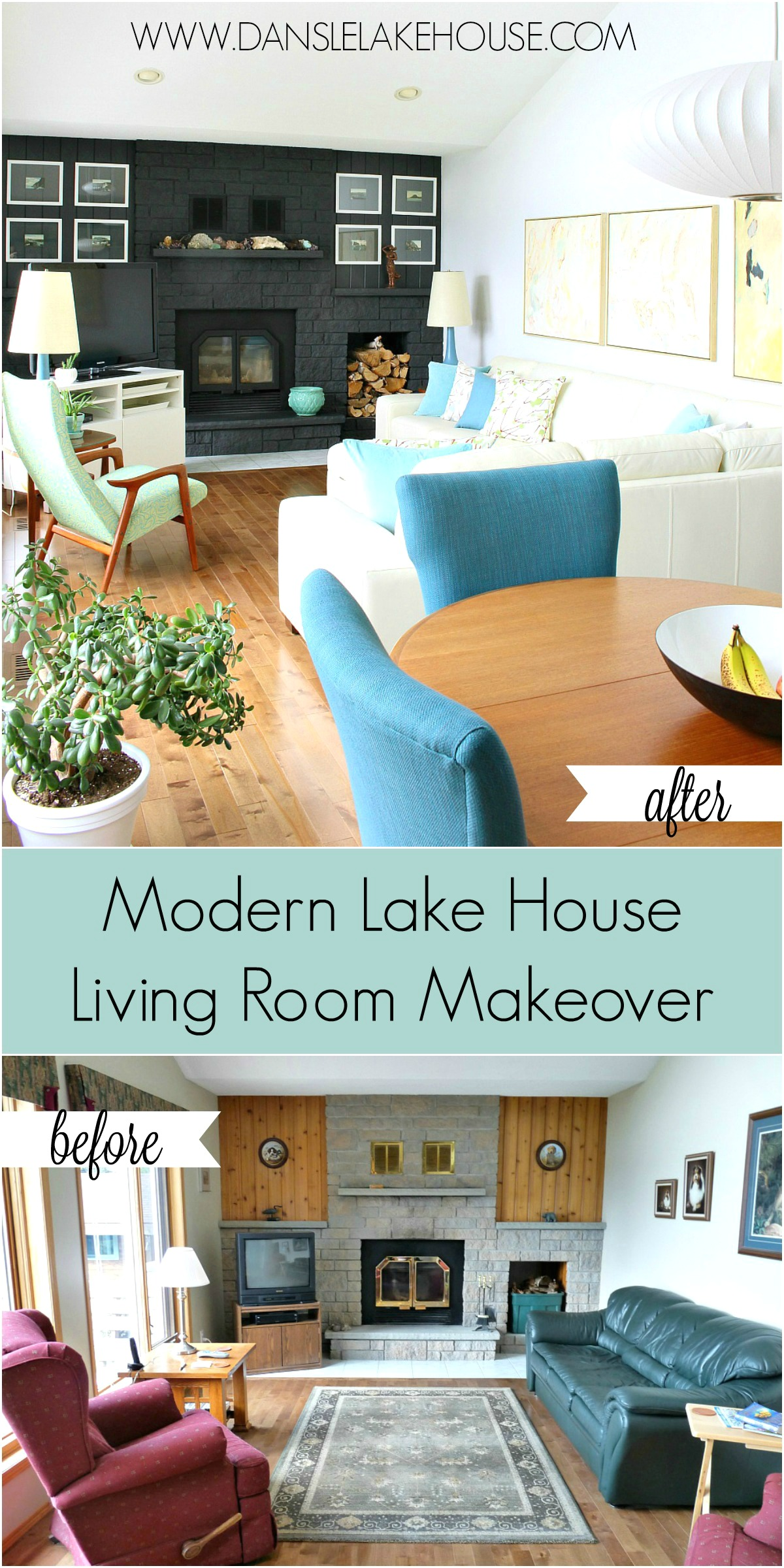 Modern Lake House Living Room Makeover