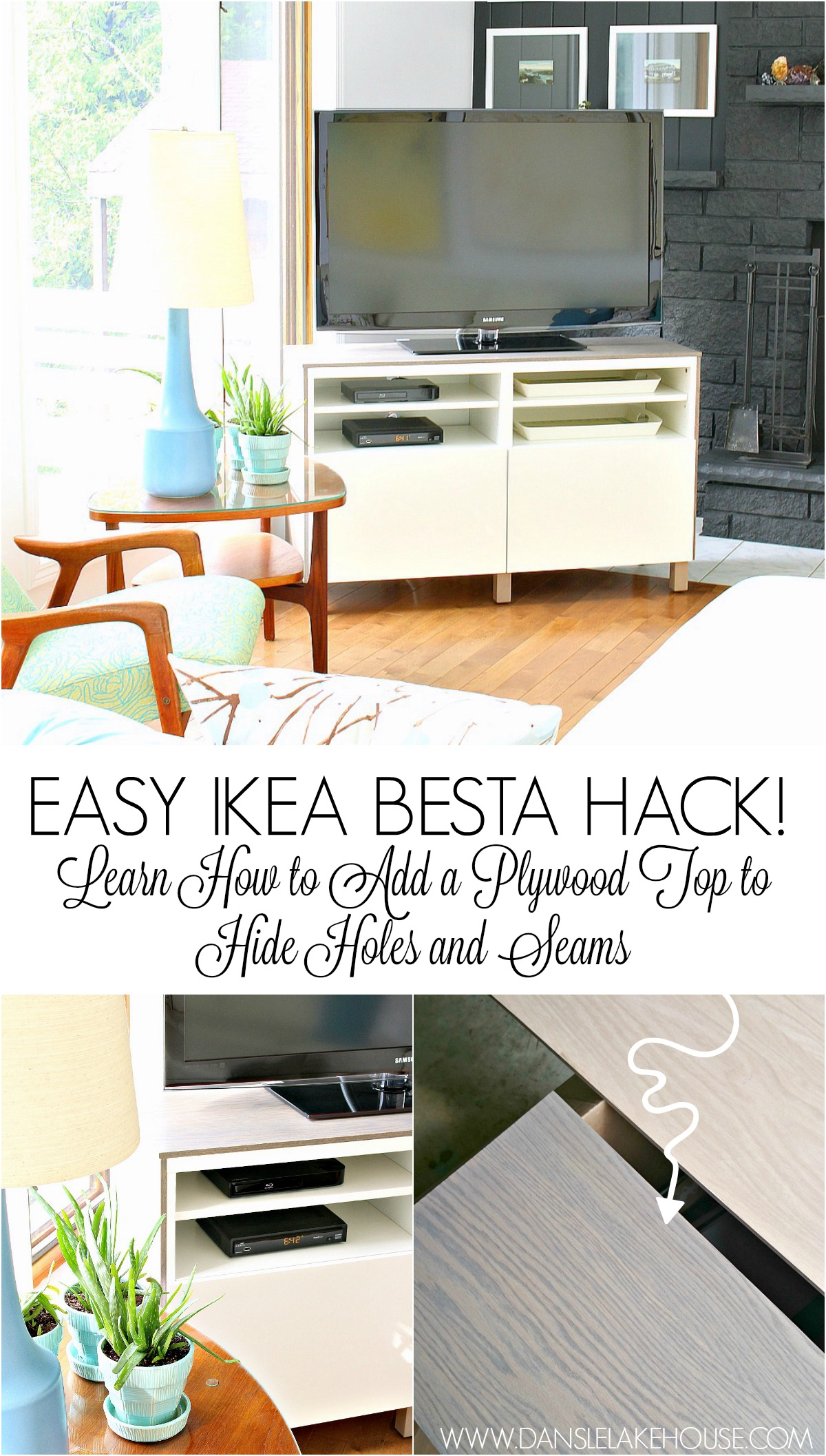 Ikea Besta Hack 2.0 | DIY Besta TV Stand with Wood Top #ikeahack #ikeabesta #savingmoney #furnituremakeover