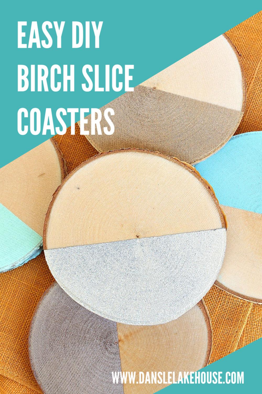 DIY birch slice coasters