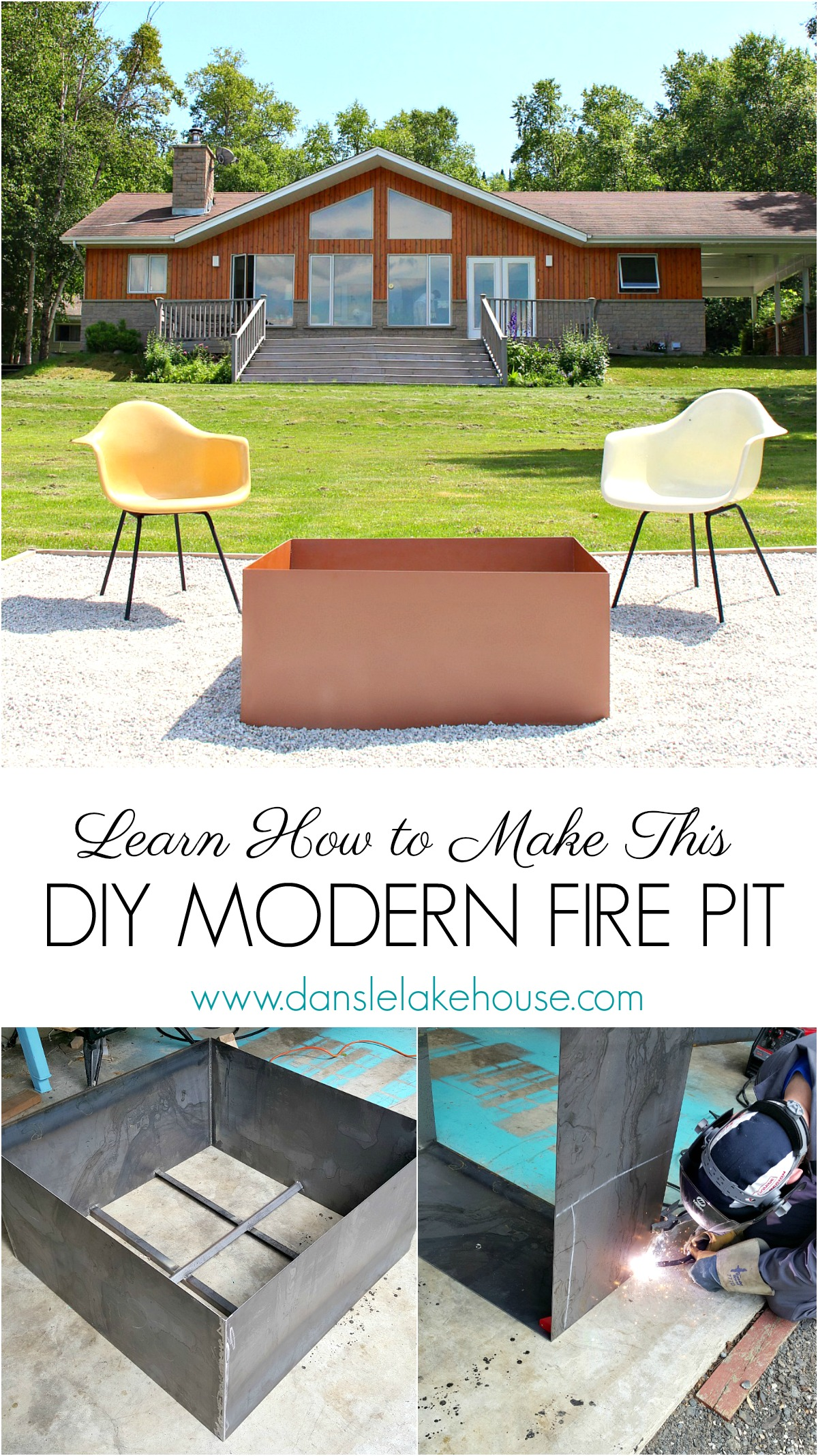 Welded DIY Fire Pit | Modern Fire Pit Makeover for Cute Lake House | Dans le Lakehouse #firepit #diy #diyfirepit #weldingtutorials #welding
