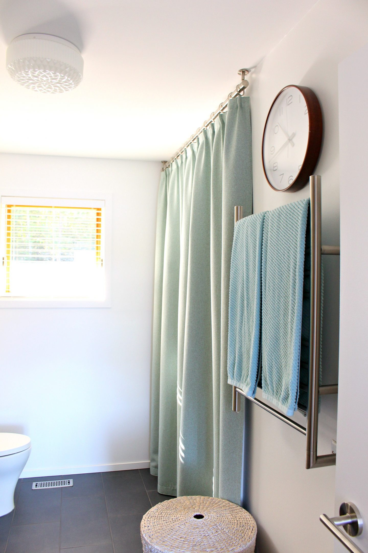 Bathroom Update Ceiling Mounted Shower Curtain Rod Turquoise Tweed Pleated Shower Curtain Dans Le Lakehouse
