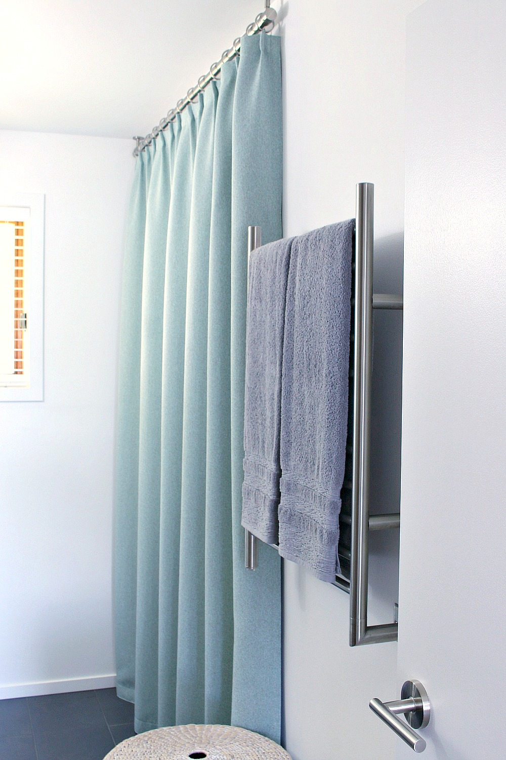 Bathroom Update Ceiling Mounted Shower Curtain Rod Turquoise Tweed Pleated
