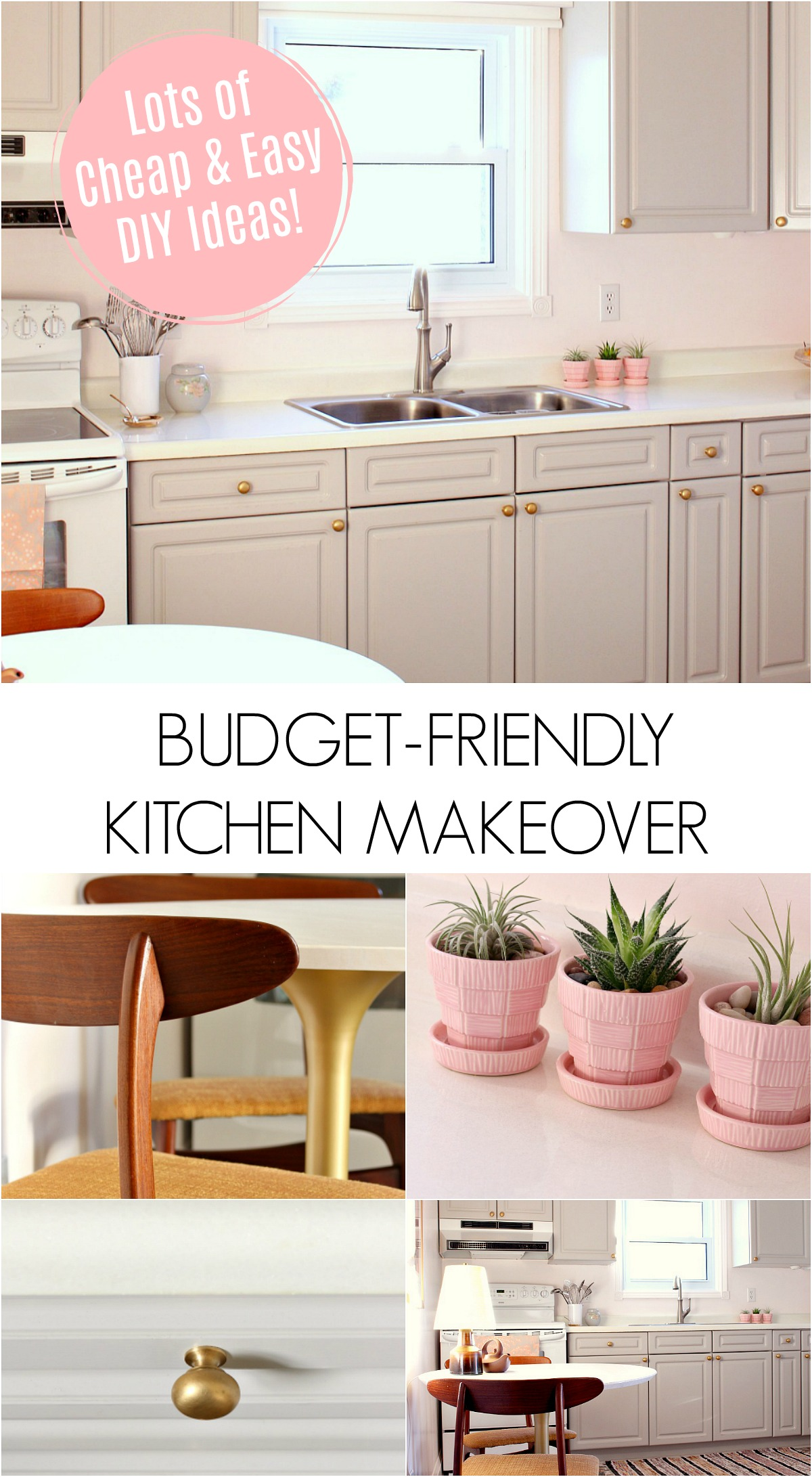 Budget-Friendly Kitchen Makeover, Before and After Photos. Lots of DIY Ideas to Make Over Your Kitchen for Little Money. #budgetdecor #kitchenmakeover #cheapdiyideas