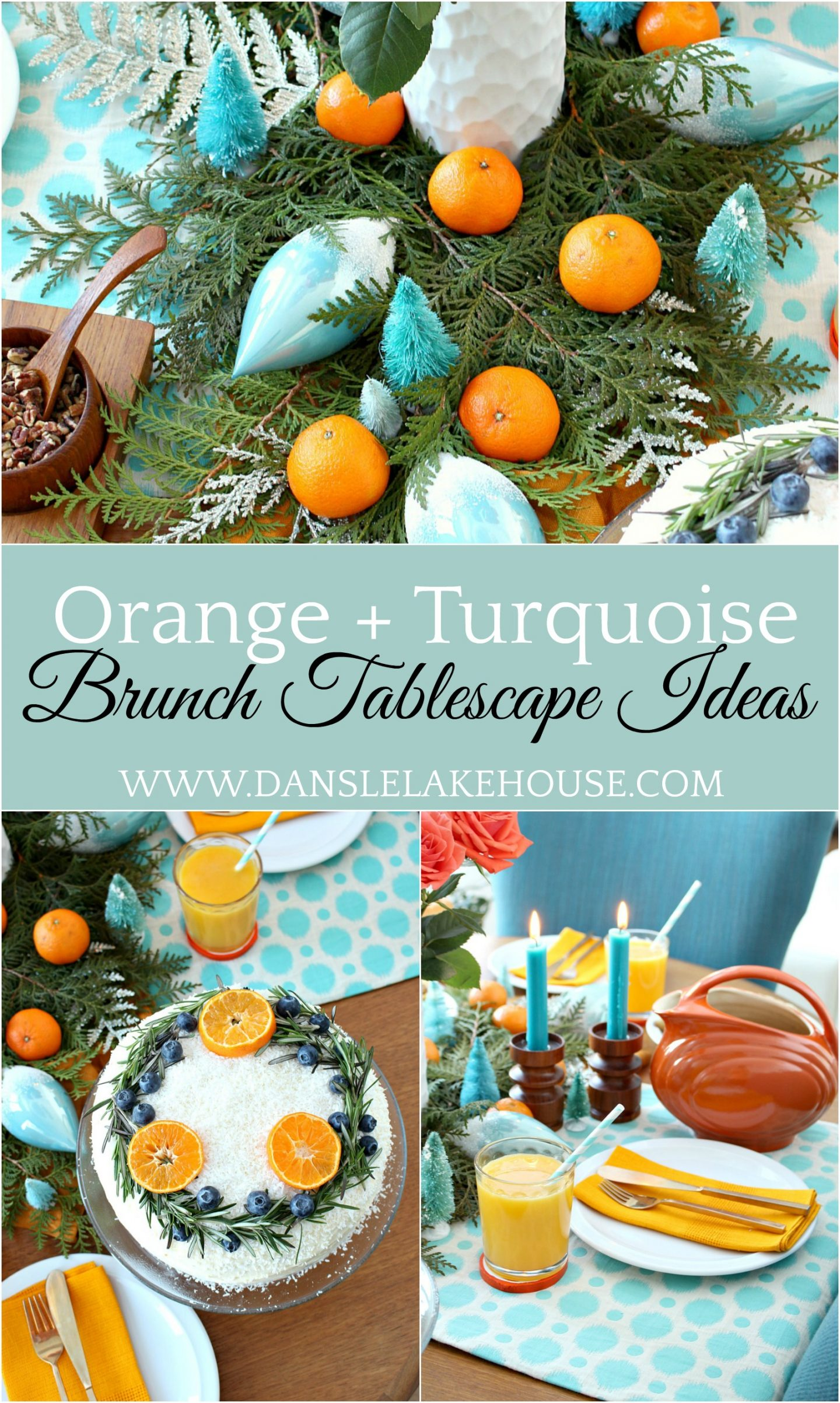 citrus brunch decor ideas - orange and turquoise tablescape