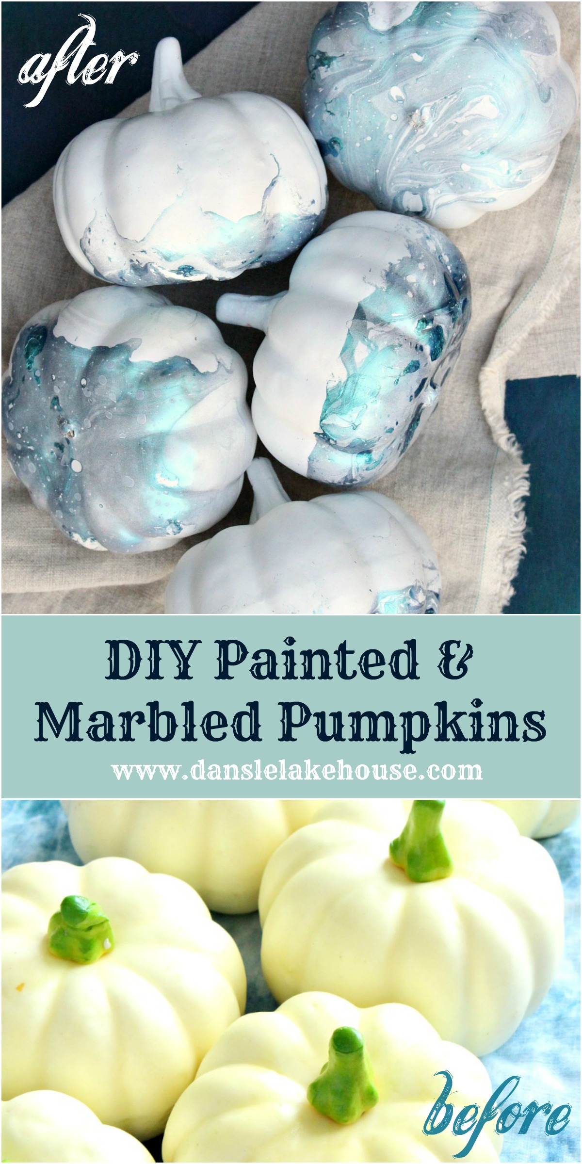 DIY painted and marbled pumpkins