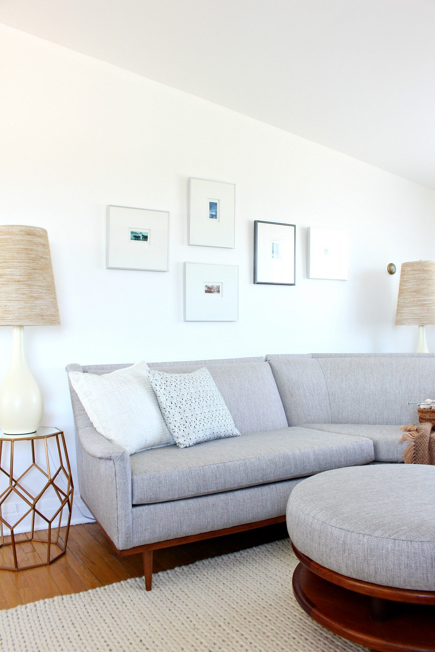 Grey Tweed Mid-Century Modern Sofa Makeover