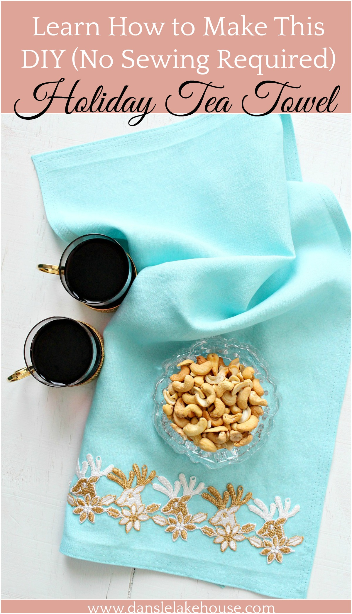 Learn how to make this no sew diy holiday tea towel