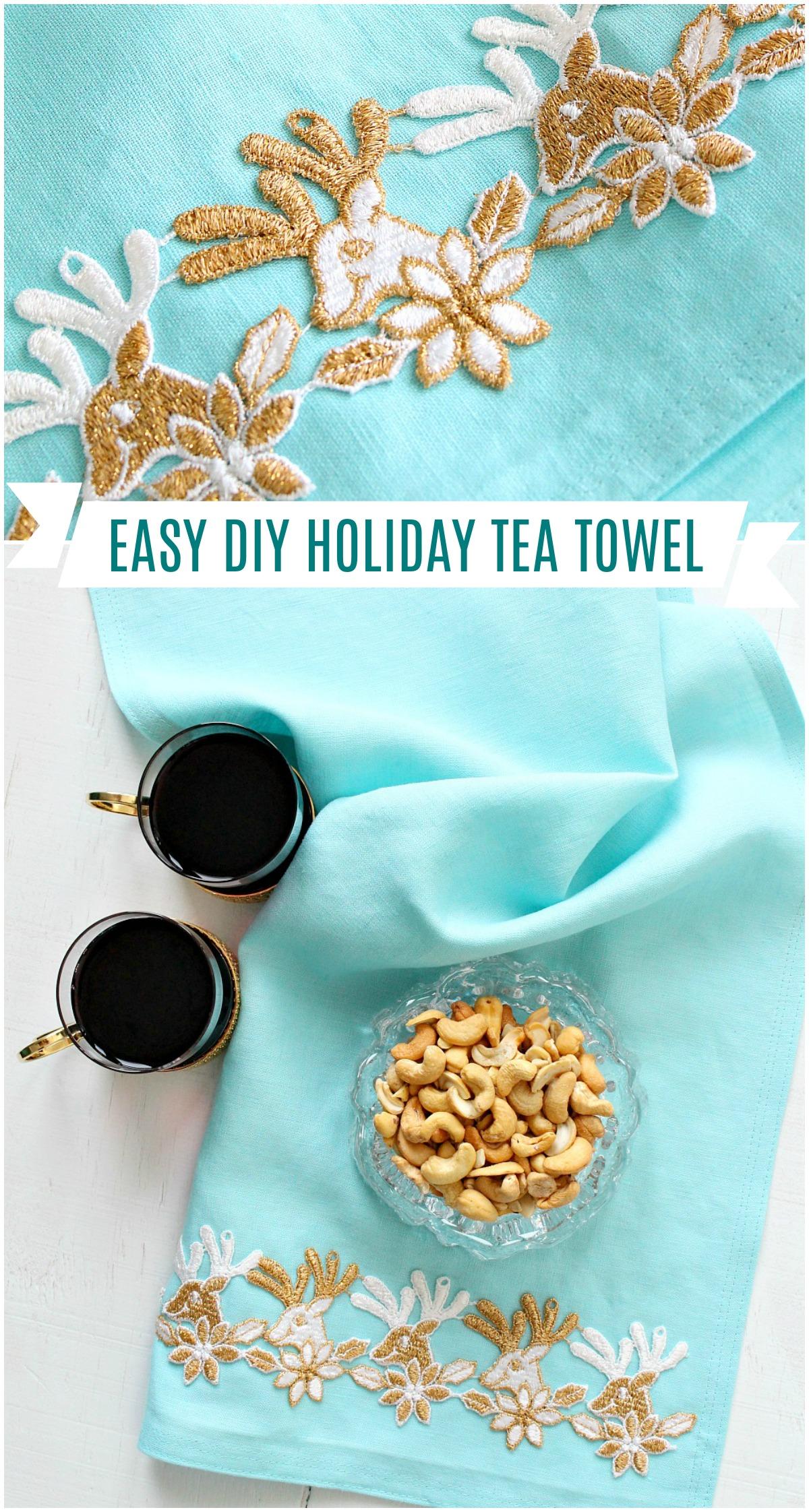 DIY holiday tea towel