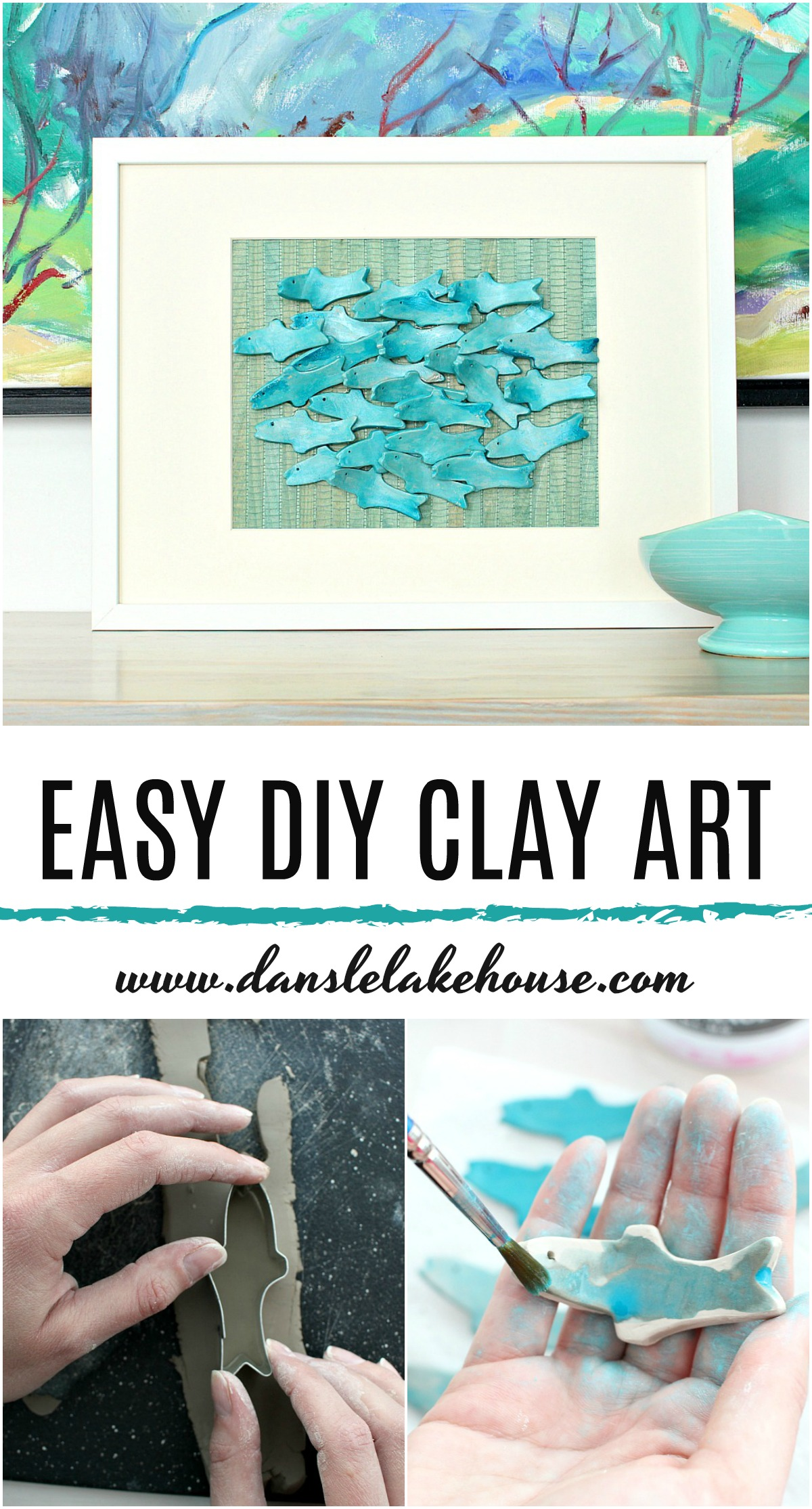 Easy DIY Clay Art. Cute Air Dry Clay Craft Project Idea: Sculptural 3D Fish Art with a Modern Coastal Style. #diyart #airdryclay #diyclay #clay #fish #moderncoastal