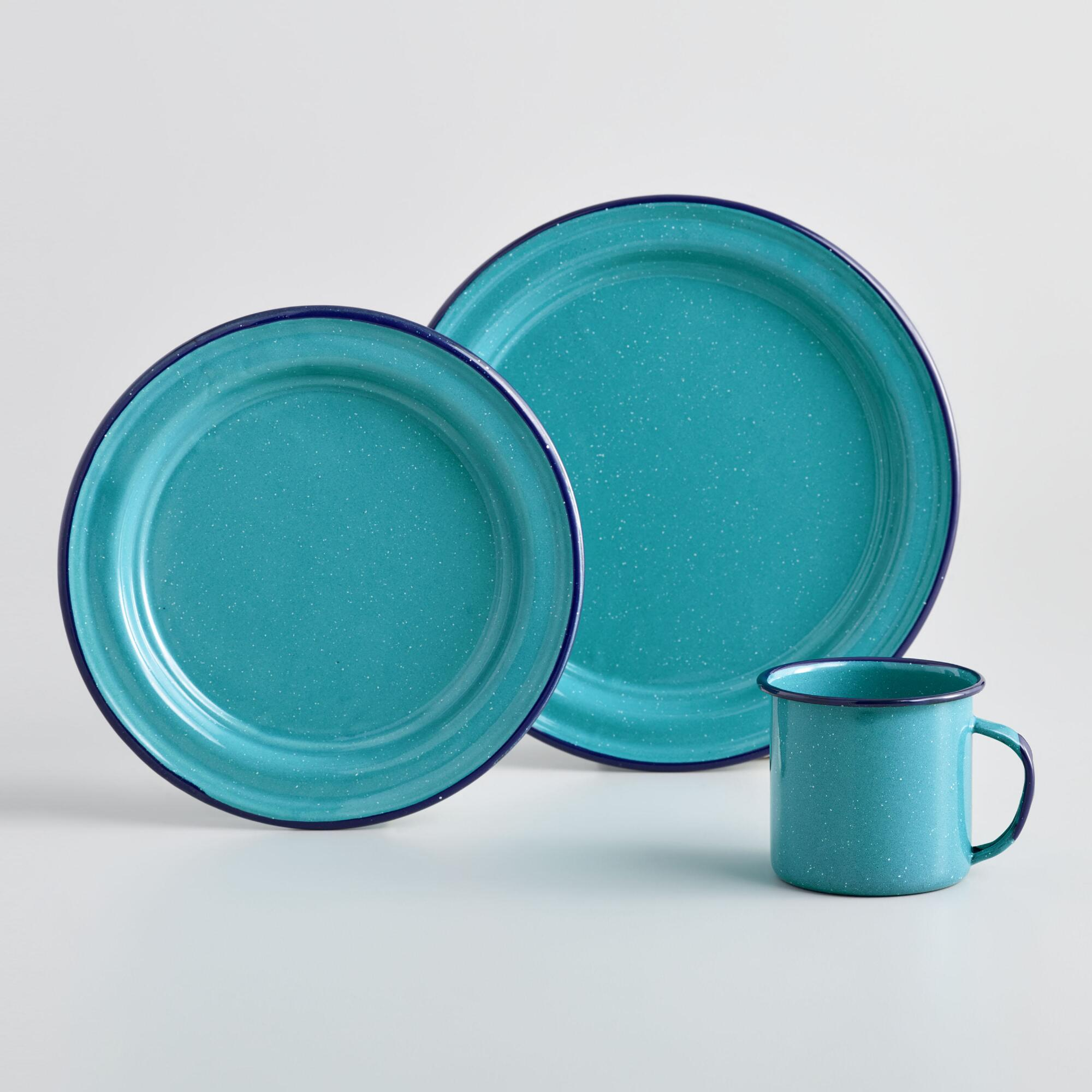 Modern Enamel Mugs And Dishes For Around The Camp Fire