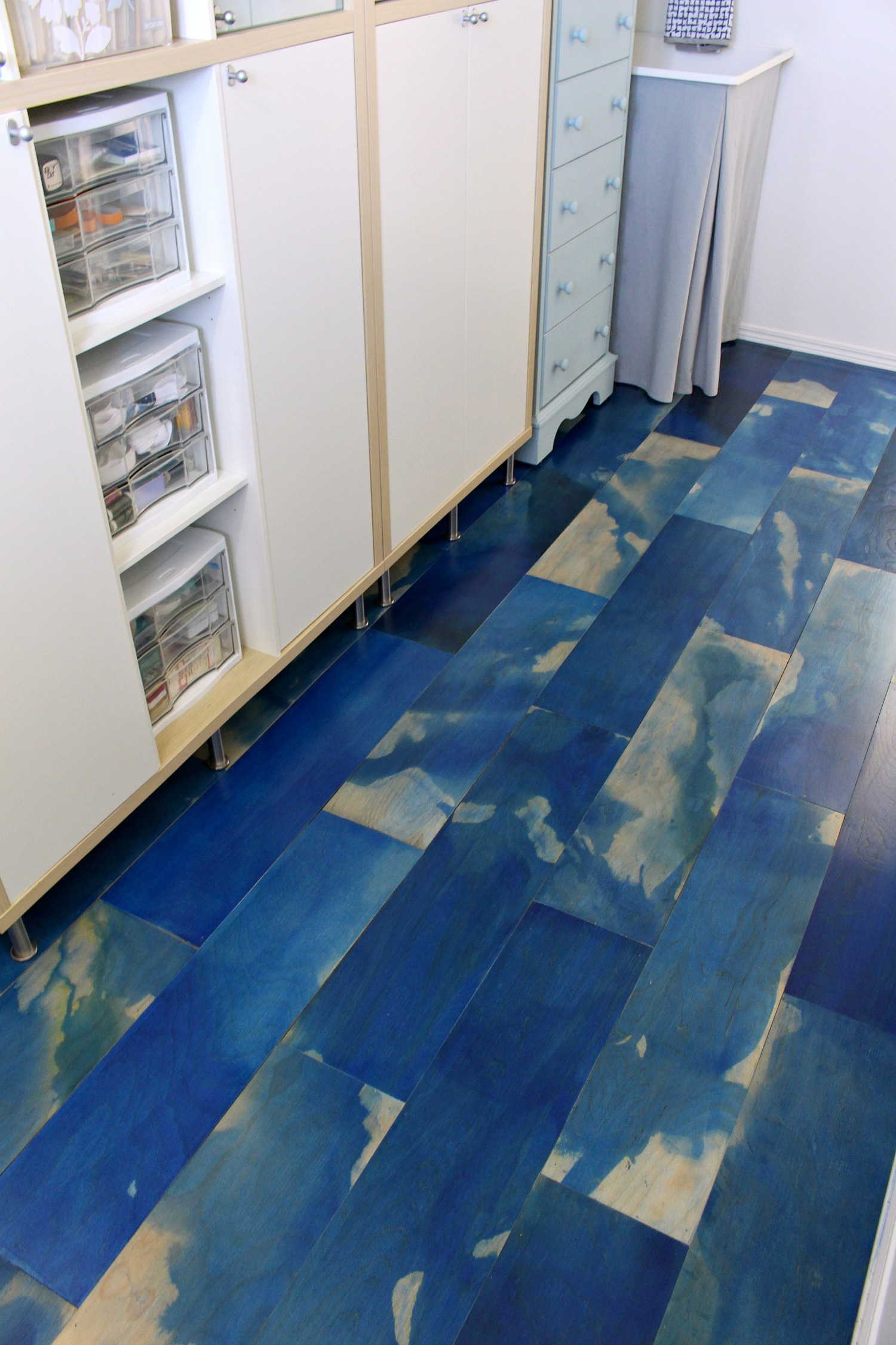 "DIY Plywood Floors Stained Blue and ""Marbled"""