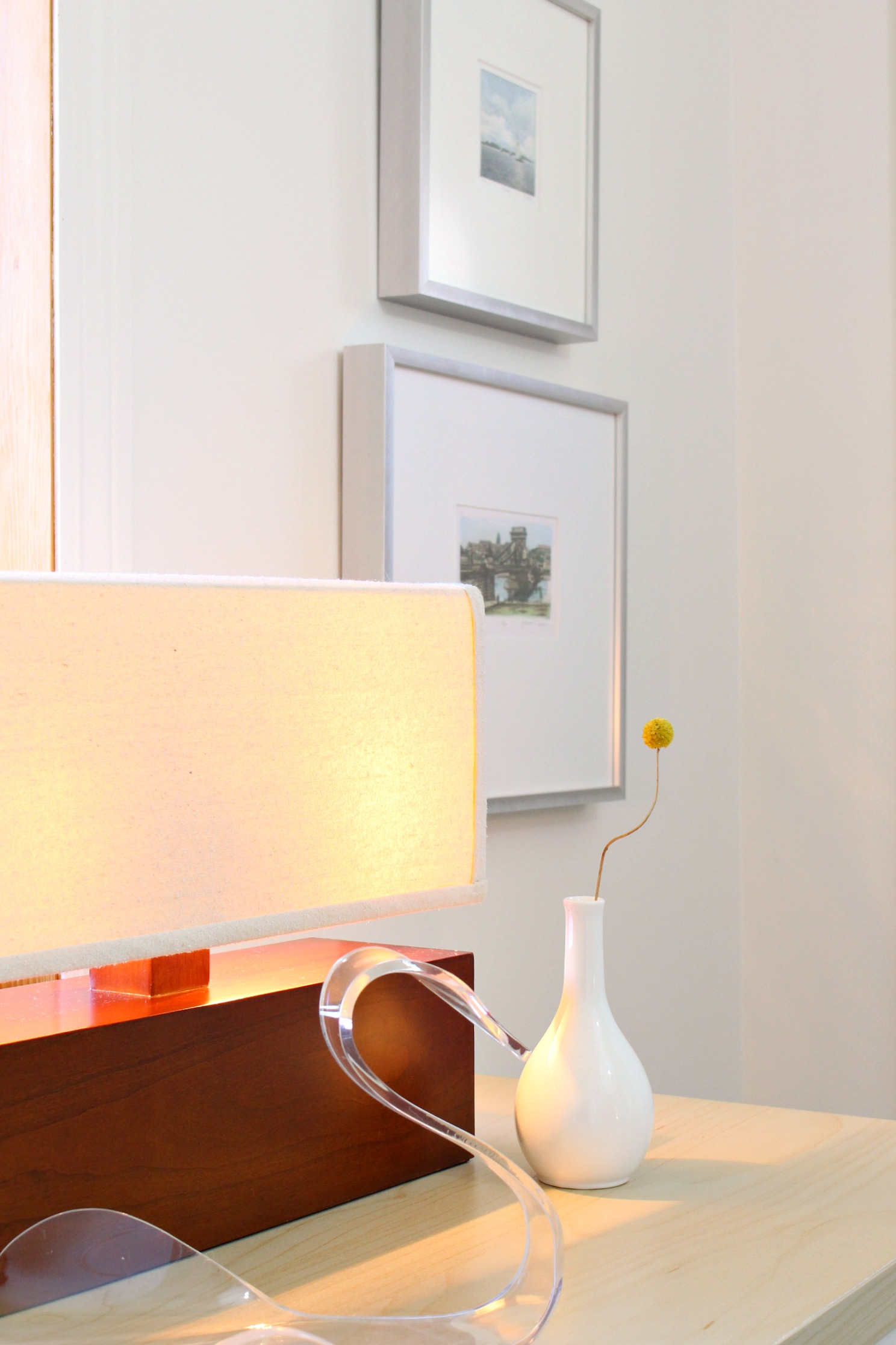 Modern Wood Lamp and Lucite Swan