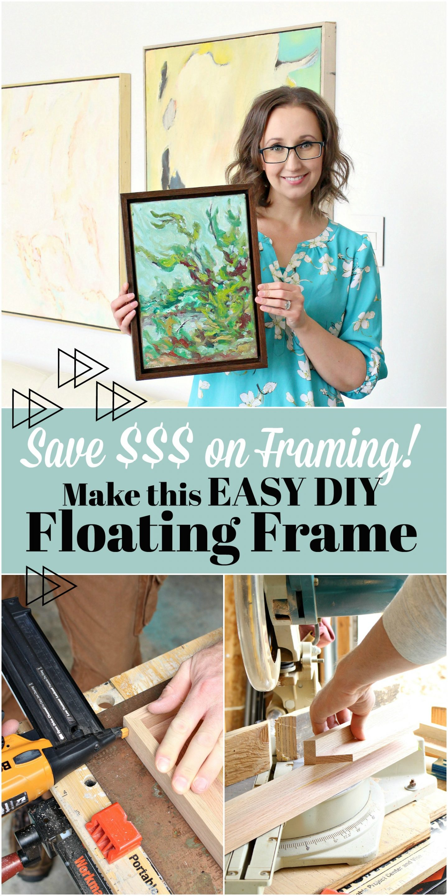 Learn How to Make this Easy DIY Floating Frame and Save a Ton of Money on Framing!