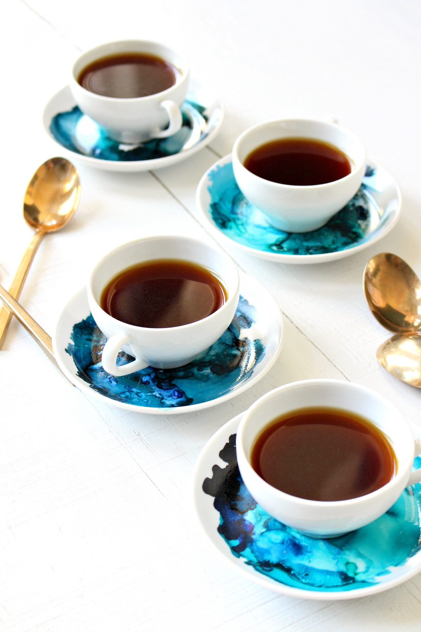 Alcohol Ink on China | DIY Marbled Espresso Set