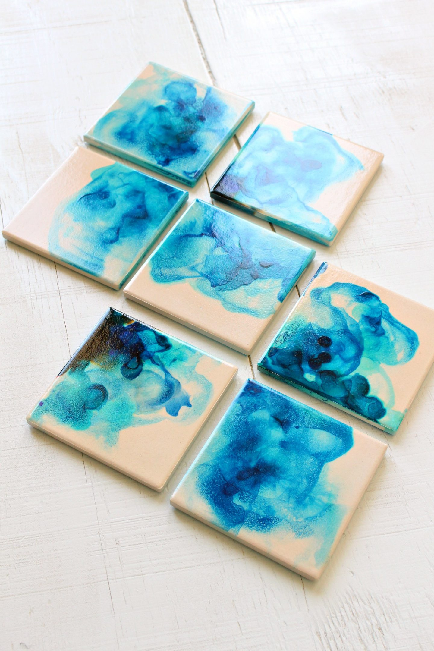 Marbled Diy Alcohol Ink Coasters Dans Le Lakehouse