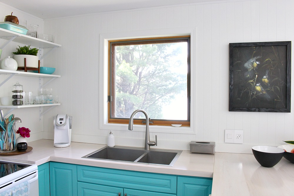 Aqua Kitchen Cabinets and Open Shelving