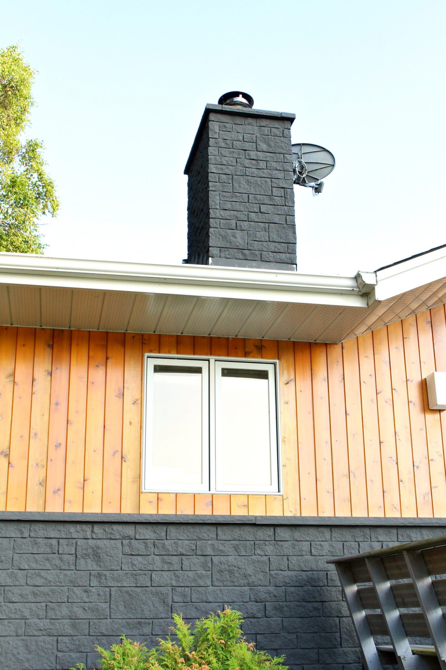 Charcoal Grey Painted Stone Exterior and Matching Chimney