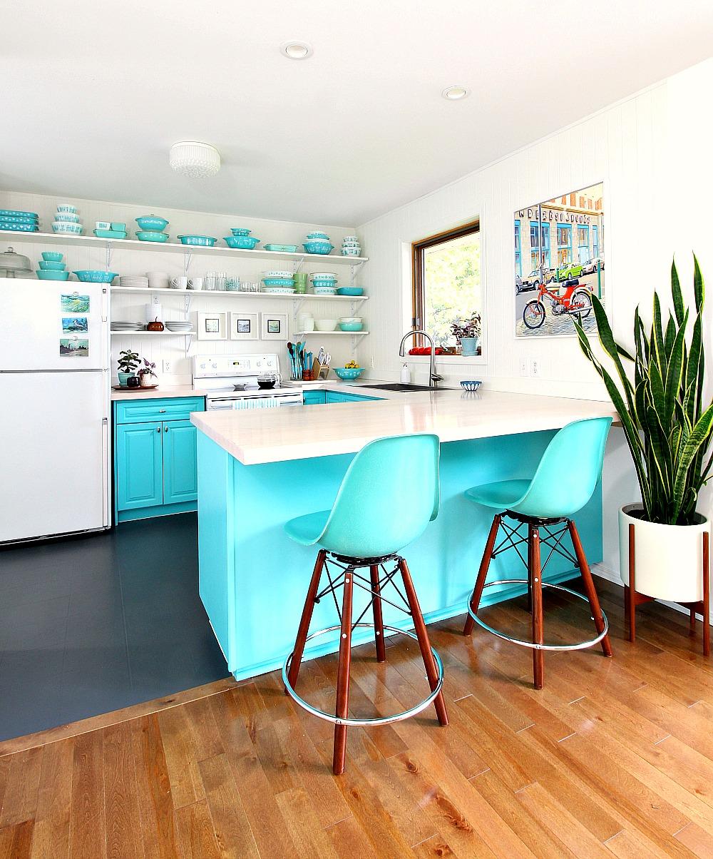 Aqua Kitchen Design with Open Shelving