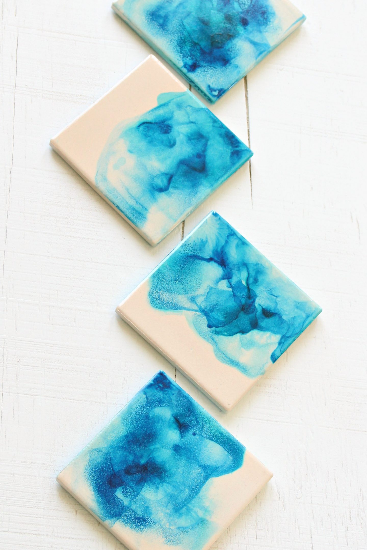 Blue Watercolor Coasters Set