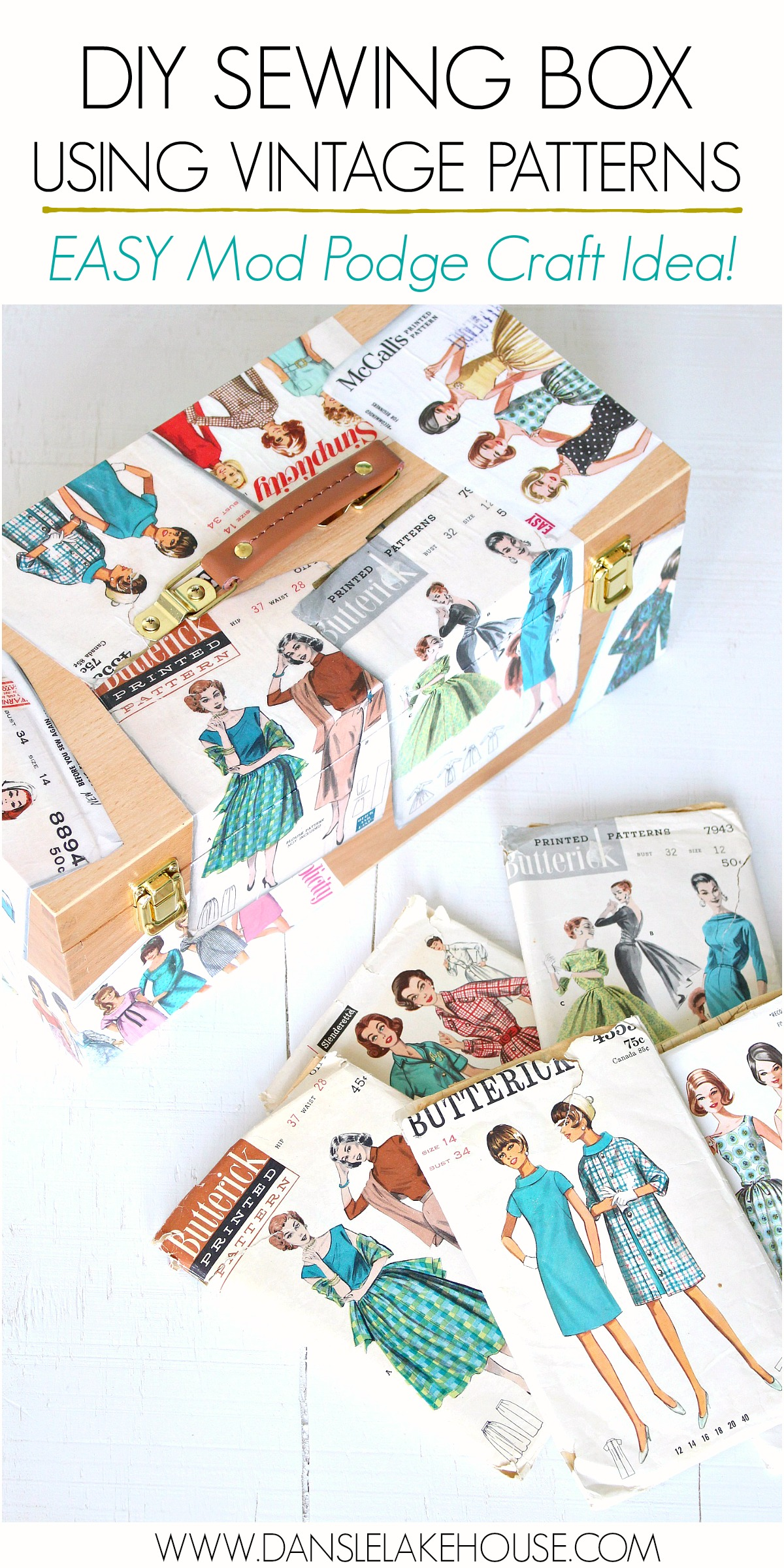 DIY Sewing Box Using Vintage Patterns - Easy Beginner Mod Podge Craft Ideas #vintagepatterns #modpodge #sewing