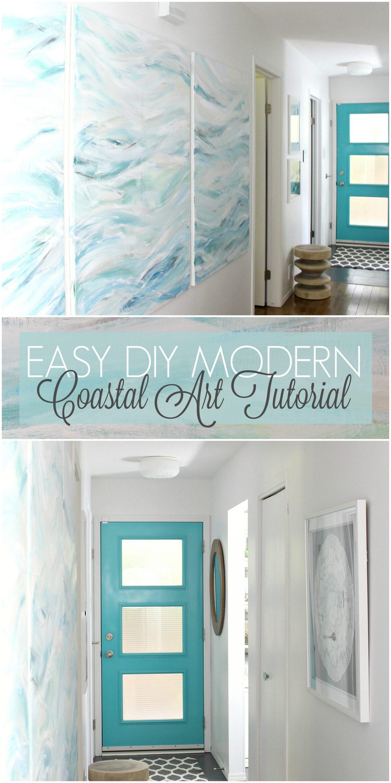 Easy DIY Modern Coastal Art Tutorial - Bring the Beach and Waves Home!