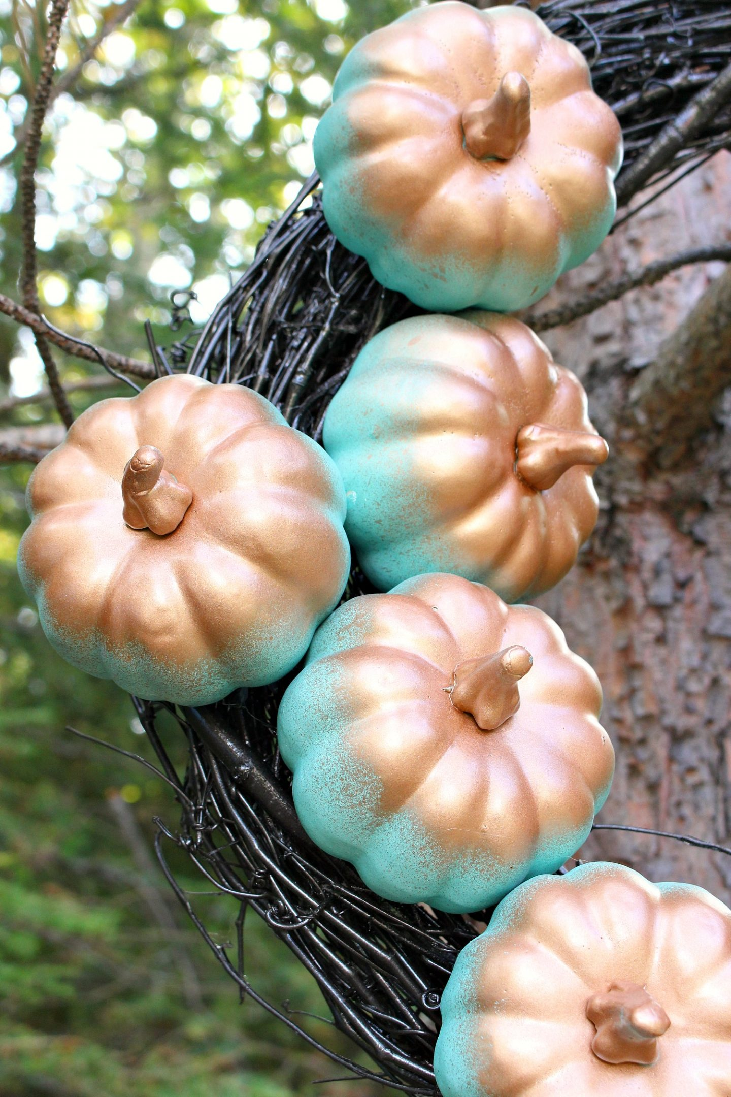 DIY Pumpkin Wreath with Turquoise and Copper Pumpkins