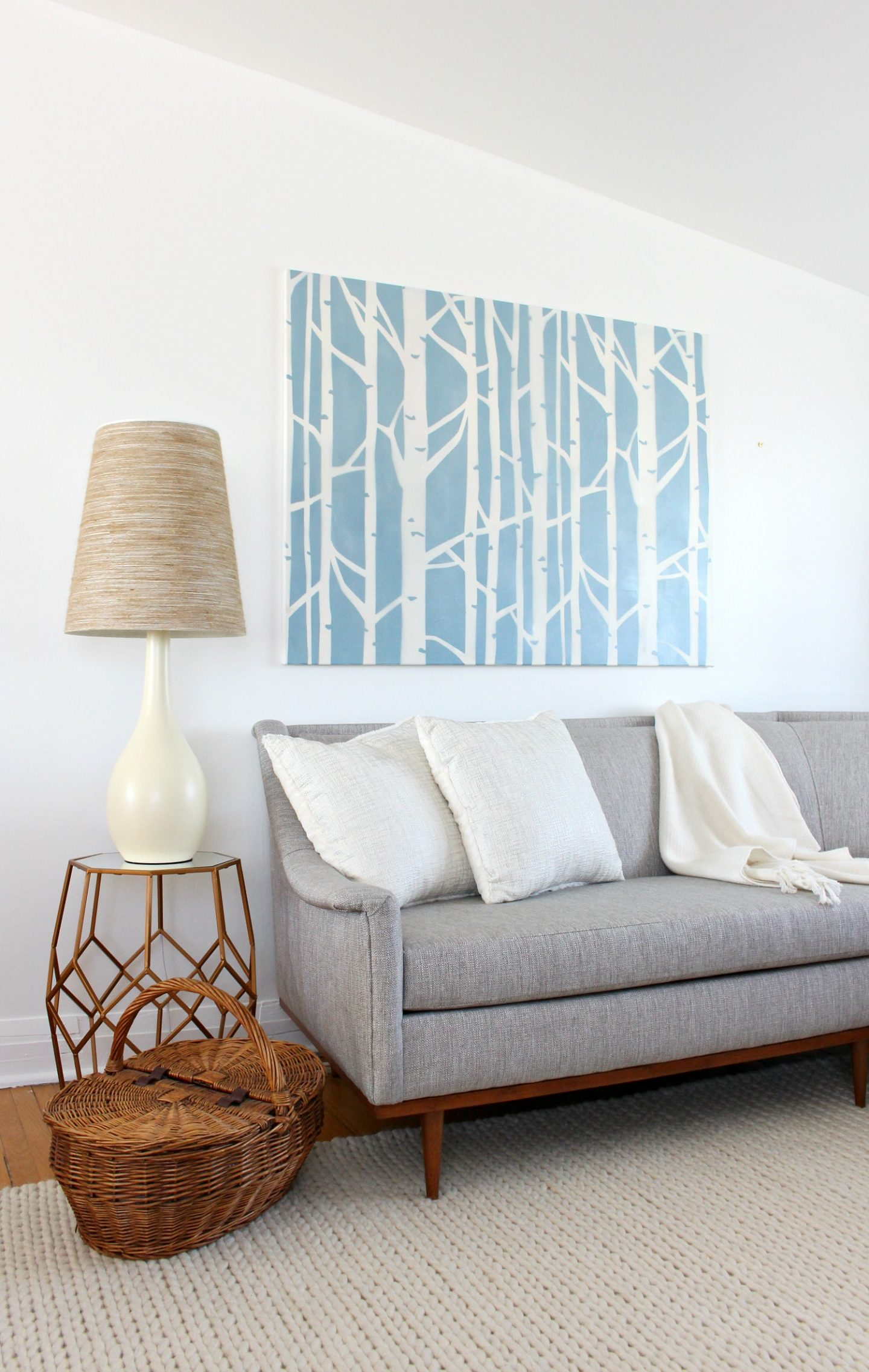 DIY Stenciled Art: Renter-Friendly Spin on Birch Tree Wallpaper
