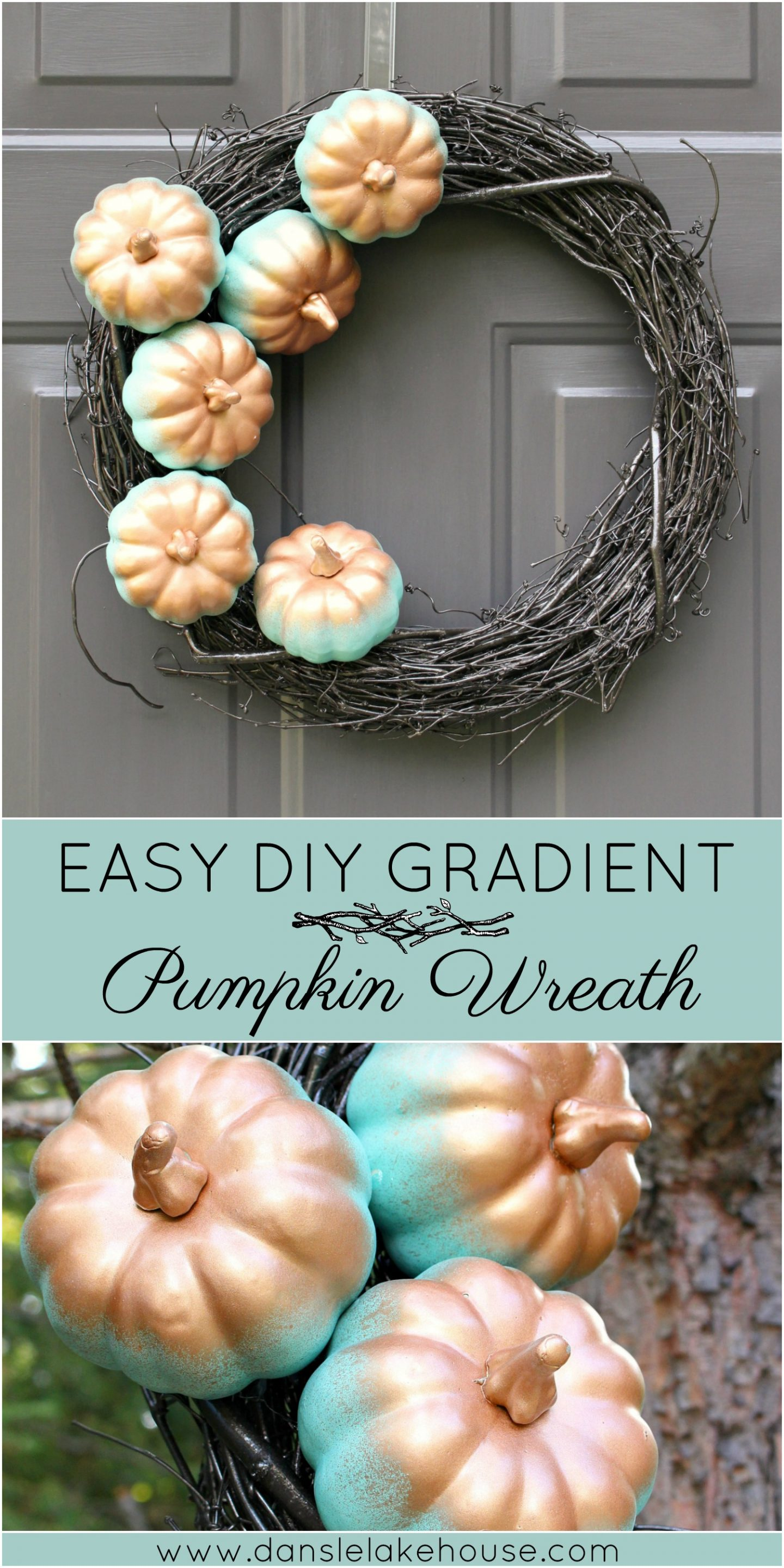 DIY Pumpkin Wreath with Aqua and Copper Gradient Pumpkins