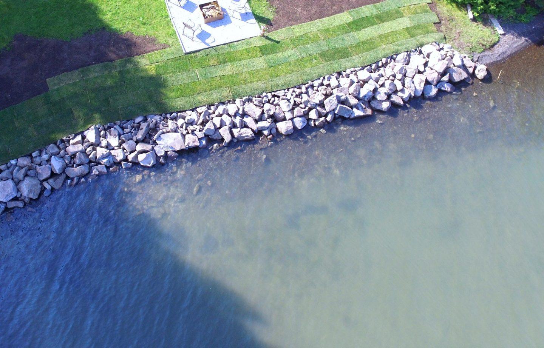 Stone Shore Erosion Structure Aerial View