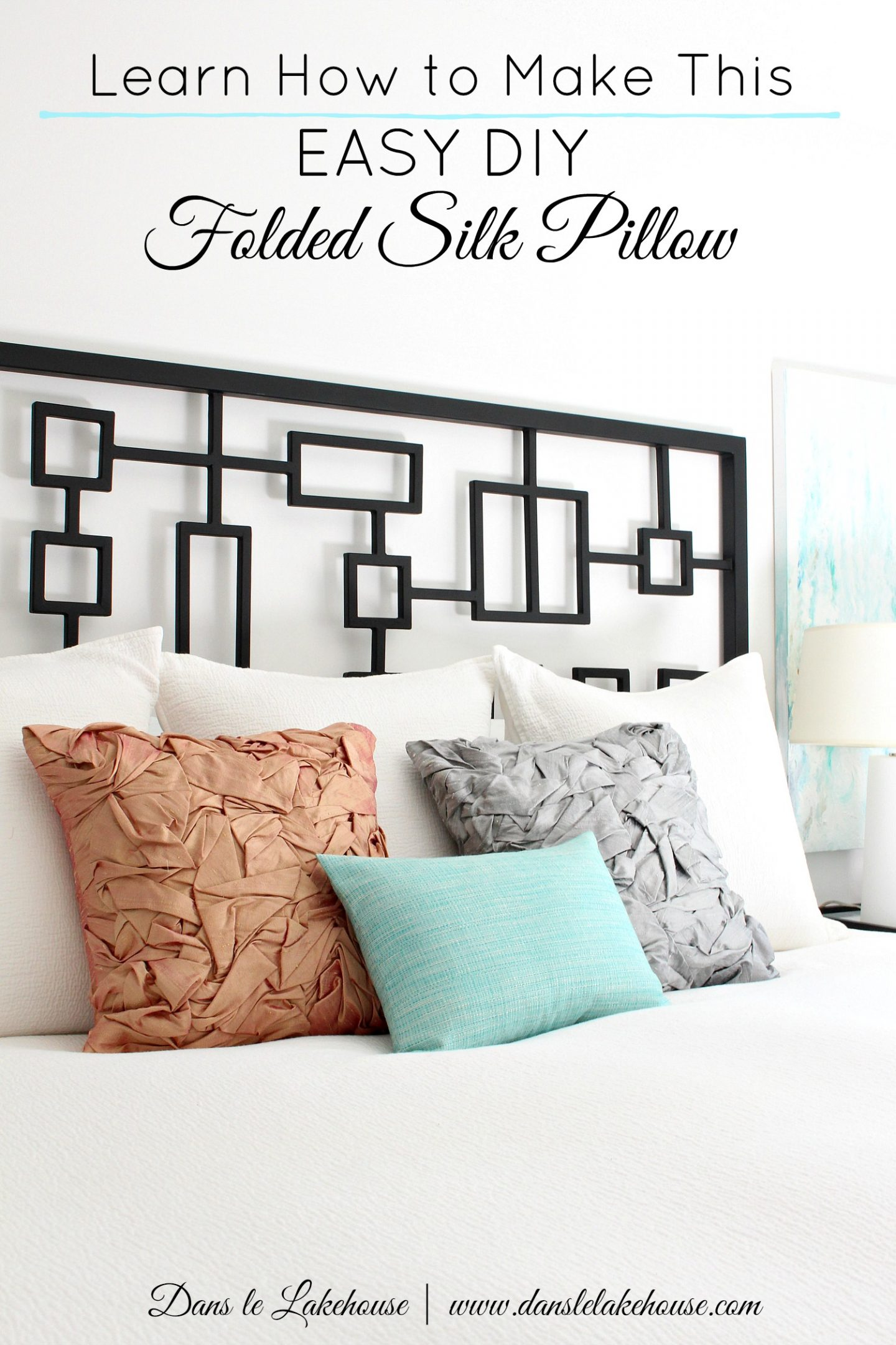 DIY folded silk pillow