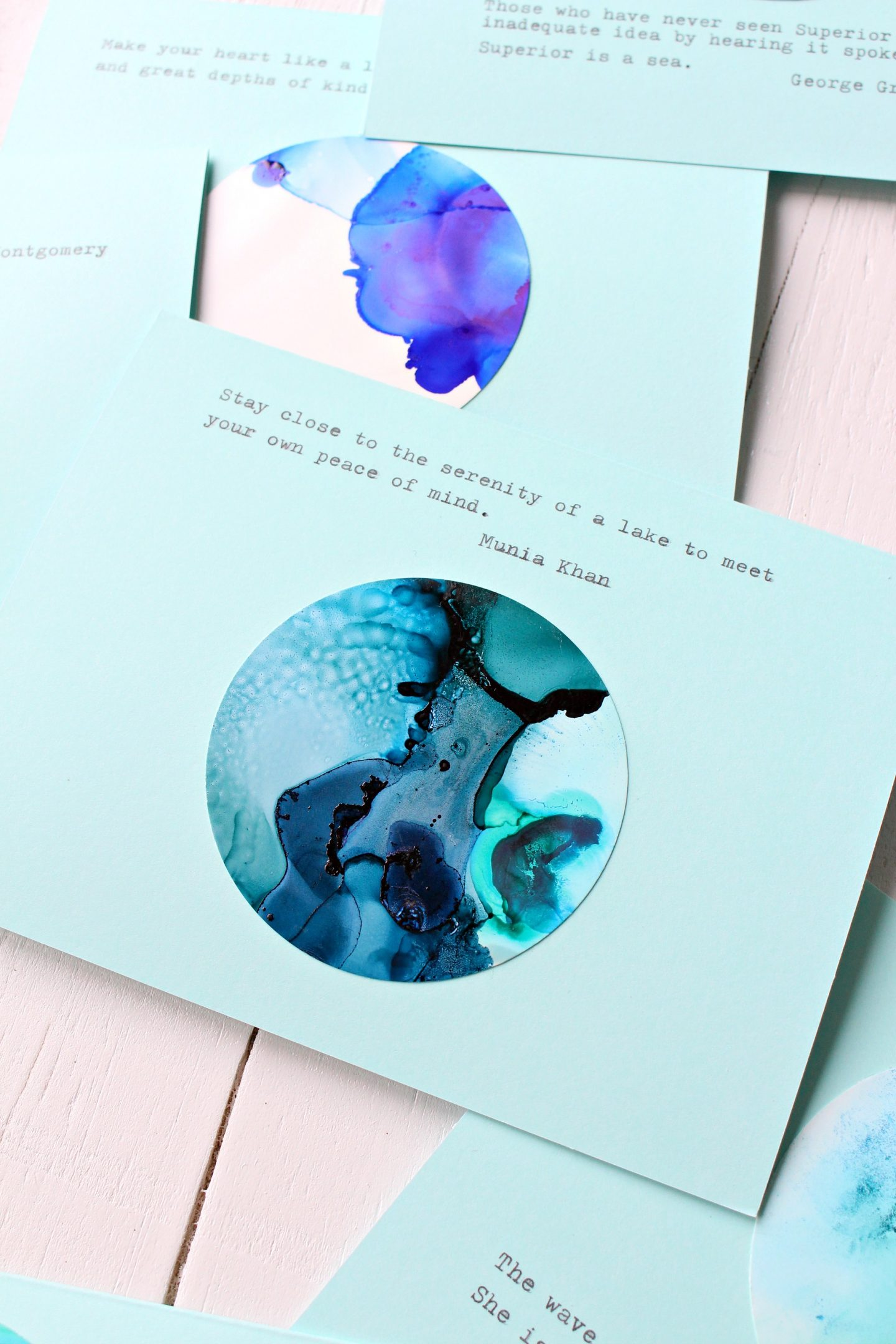 DIY Alcohol Ink Note Cards with Lake Superior Quotes