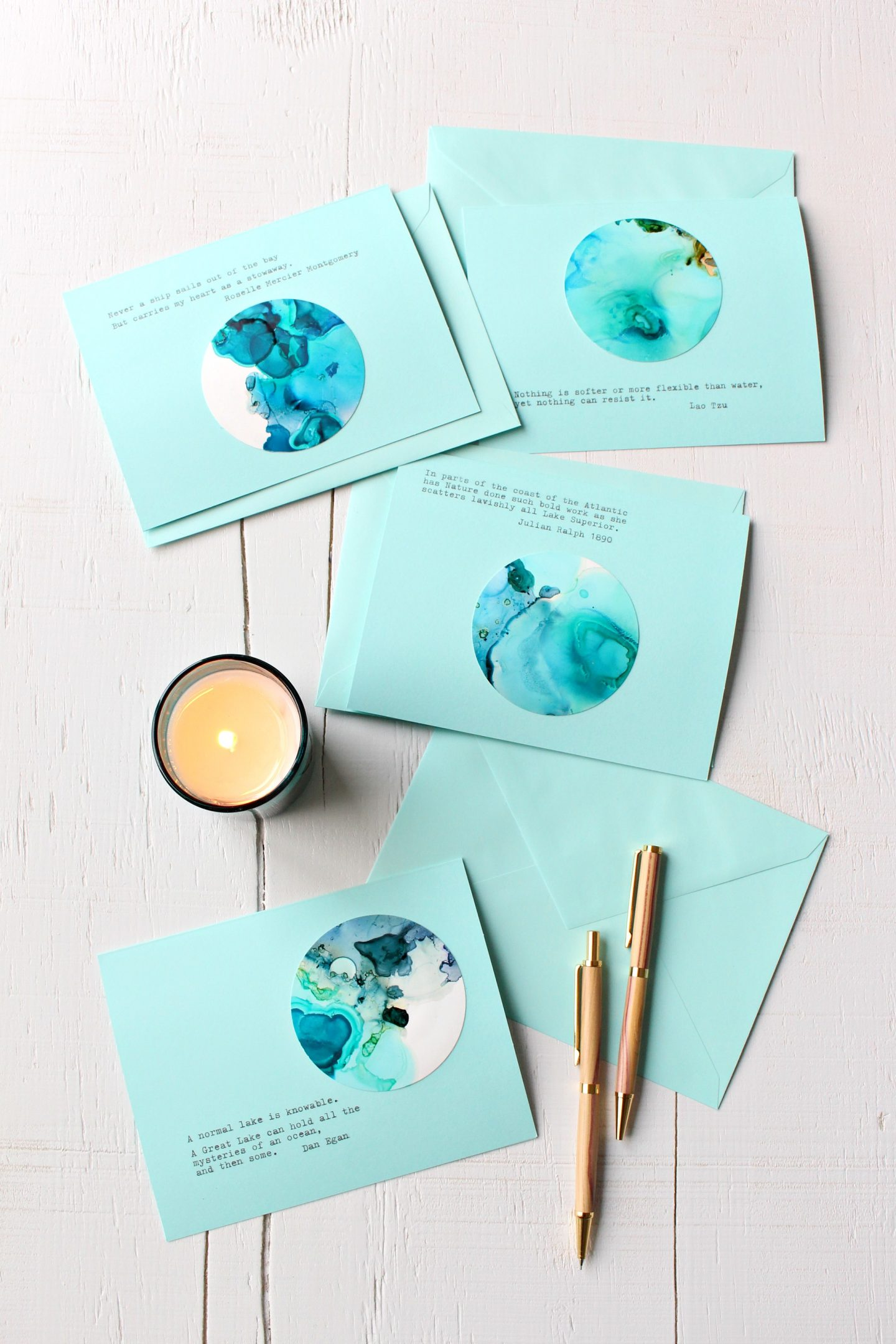 DIY Alcohol Ink Note Cards For the Holidays