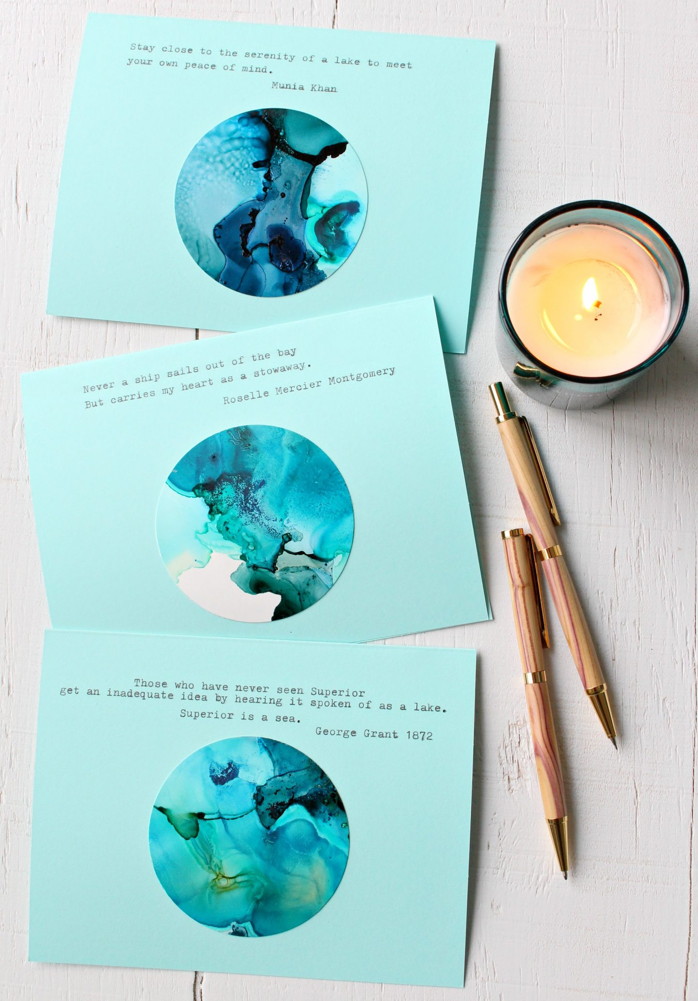 DIY Alcohol Ink Note Cards For Winter Holidays