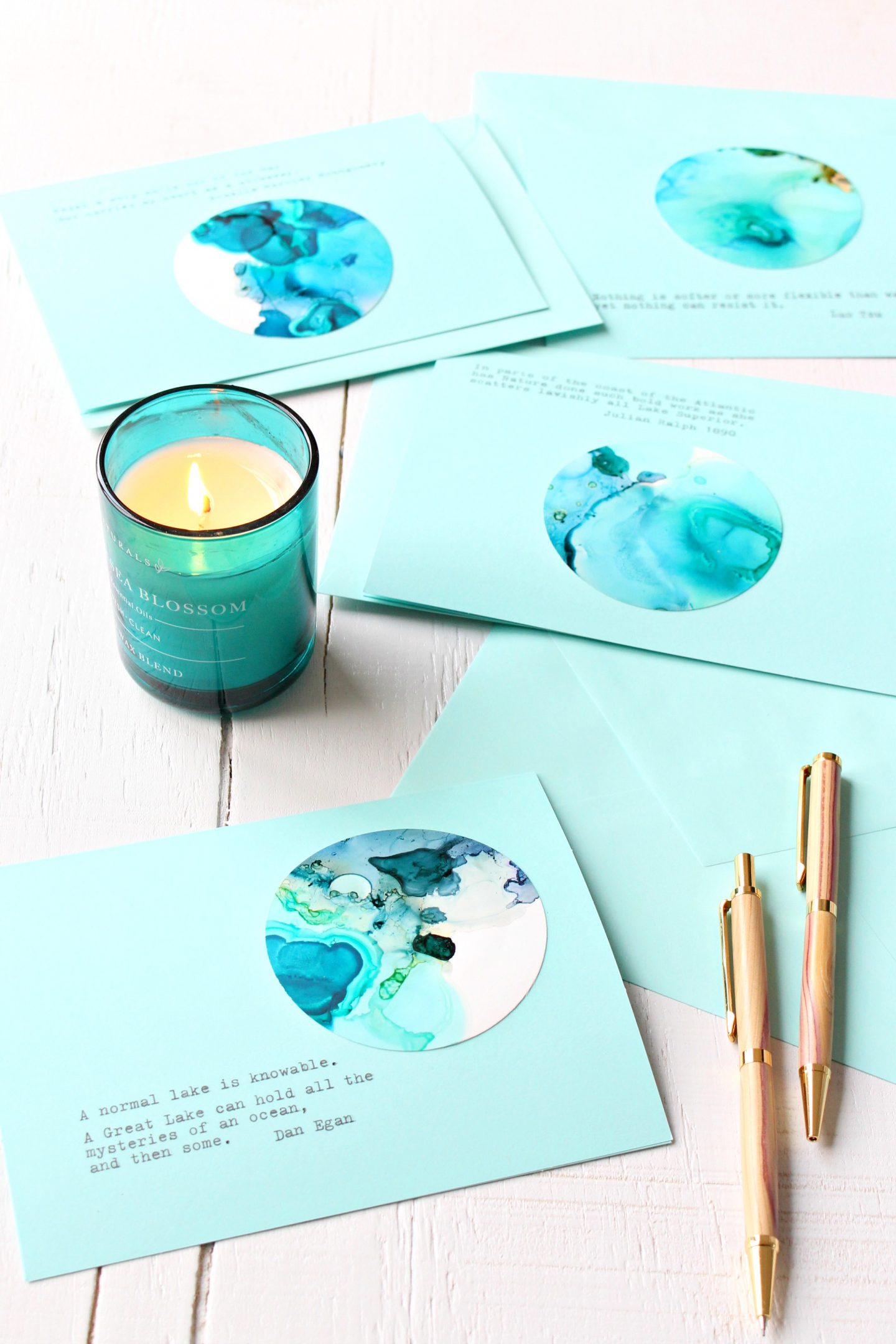 DIY Alcohol Ink Note Cards with Lake Superior Quotes and Theme