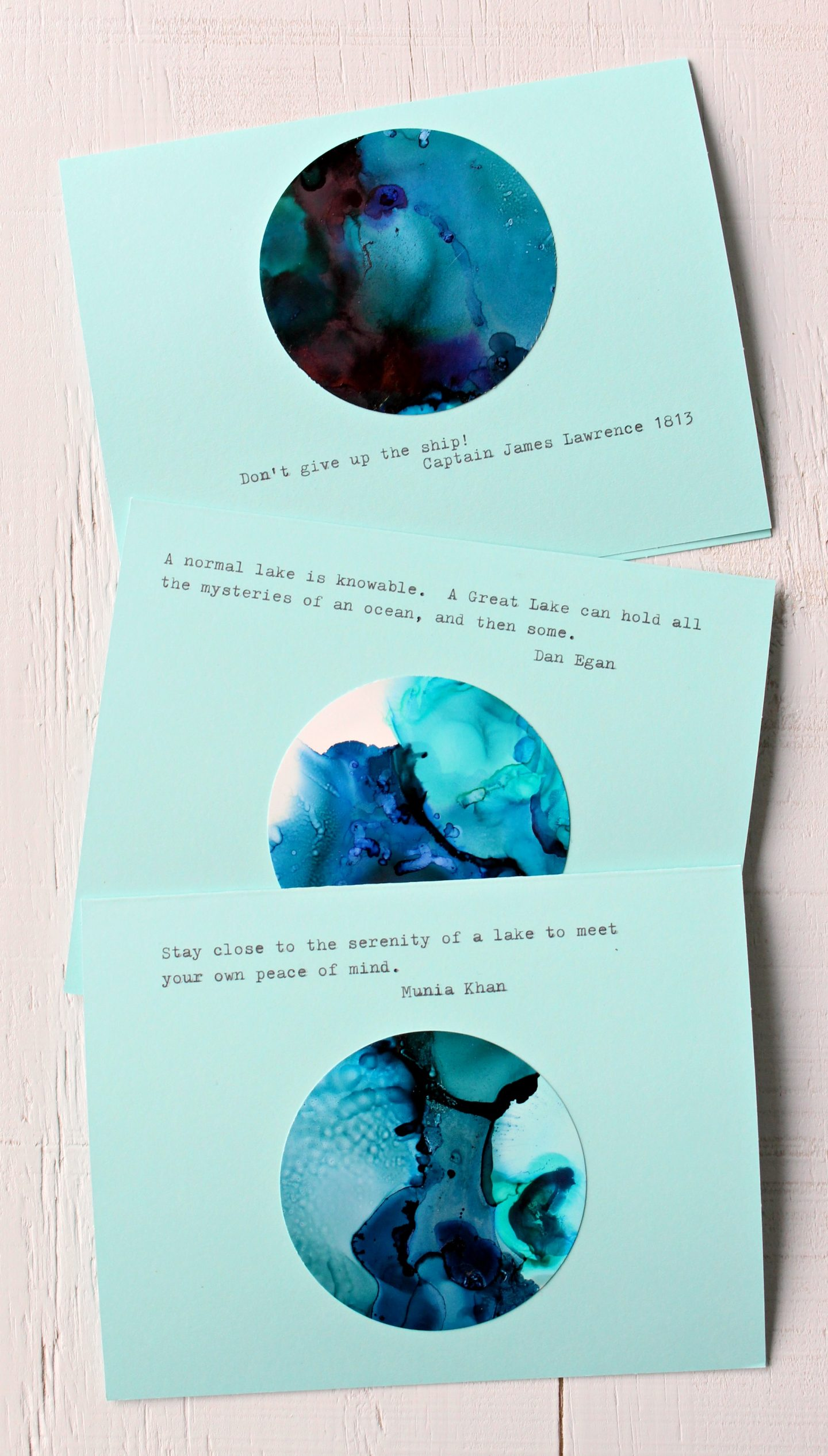 DIY Alcohol Ink Note Cards with Lake Superior Vibes